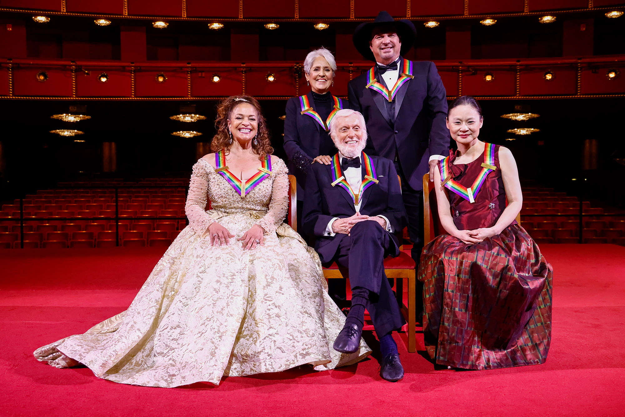 Debbie Allen, Joan Baez, Dick Van Dyke, Garth Brooks and Midori Gotō pose during the 43rd Annual Kennedy Center Honors at The Kennedy Center on May 21, 2021 in Washington, DC