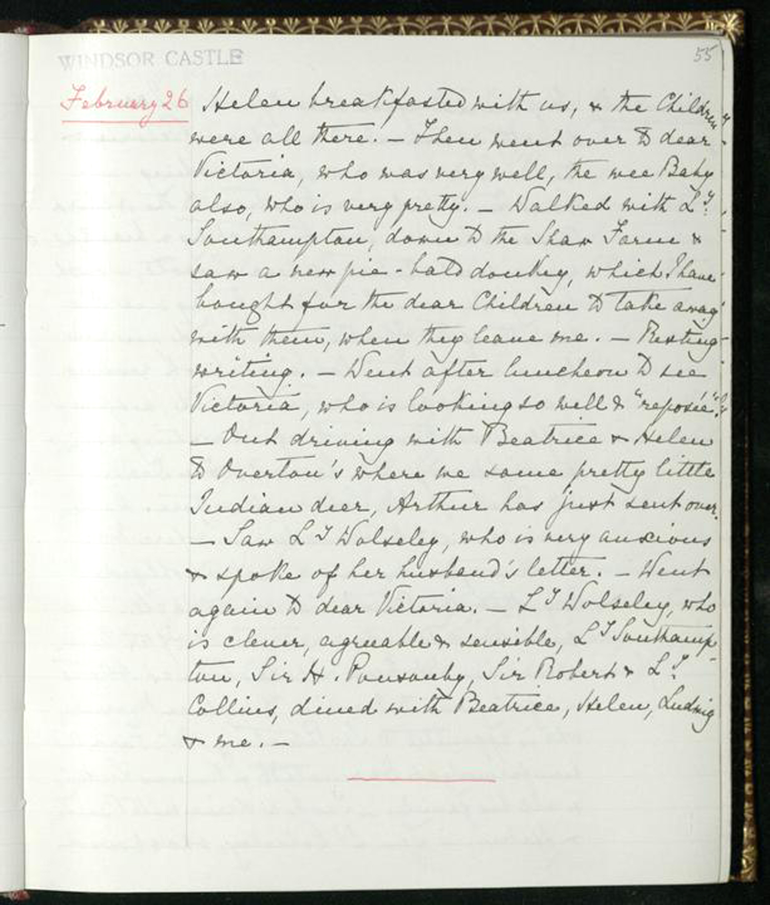 The Journal in which Queen Victoria recorded the birth of Prince Philip's mother, Princess Alice of Battenberg