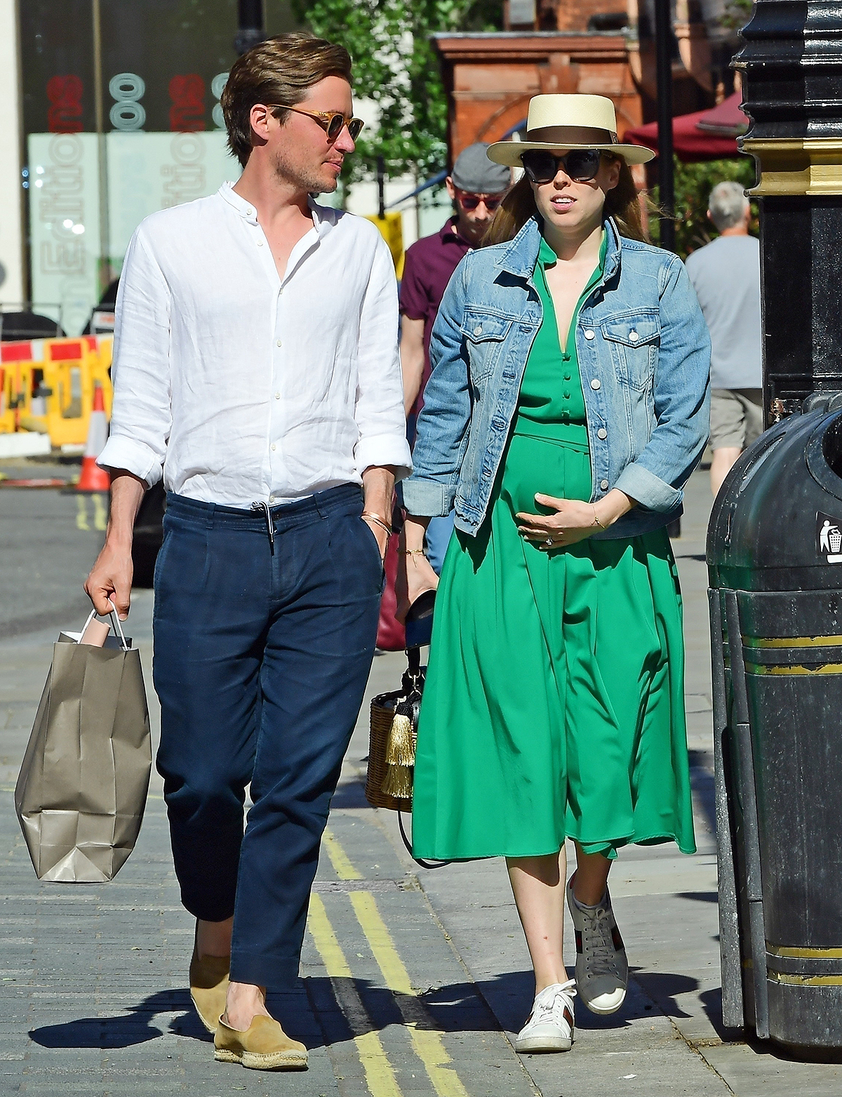 Pregnant Princess Beatrice looking elegant in Green dress and Denim jacket while out with husband Edoardo Mapelli Mozzi in Sunny London