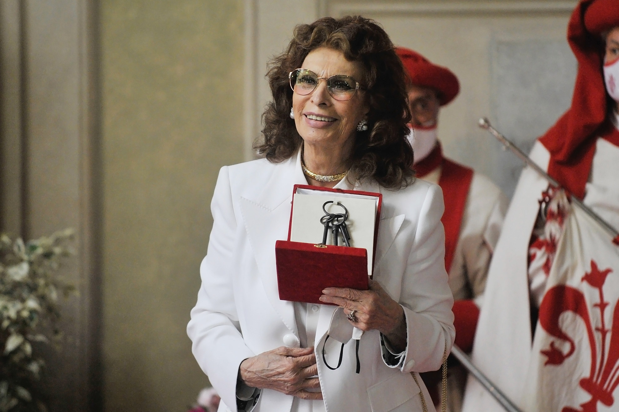 Sophia Loren receives the keys of the city of Florence on June 5, 2021 in Palazo Vecchio in Florence, Italy