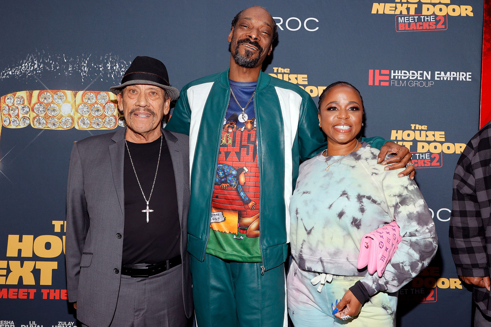 """Danny Trejo, Snoop Dogg, and Shante Broadus attend the premiere of """"The House Next Door: Meet The Blacks 2"""" at Regal LA Live: A Barco Innovation Center on June 07, 2021 in Los Angeles, California"""