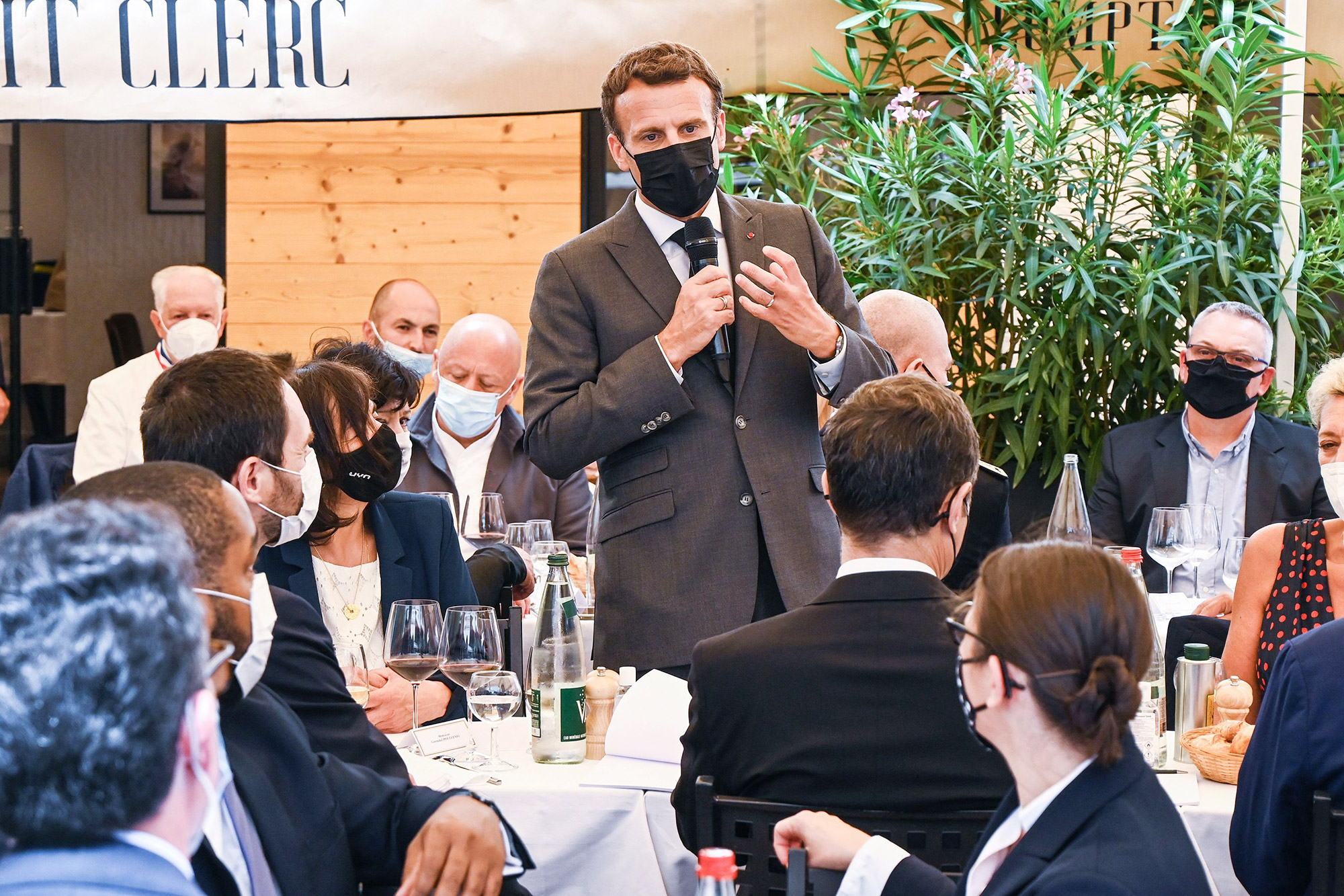 French President Emmanuel Macron delivers a speech before a lunch in Valence, on June 8, 2021