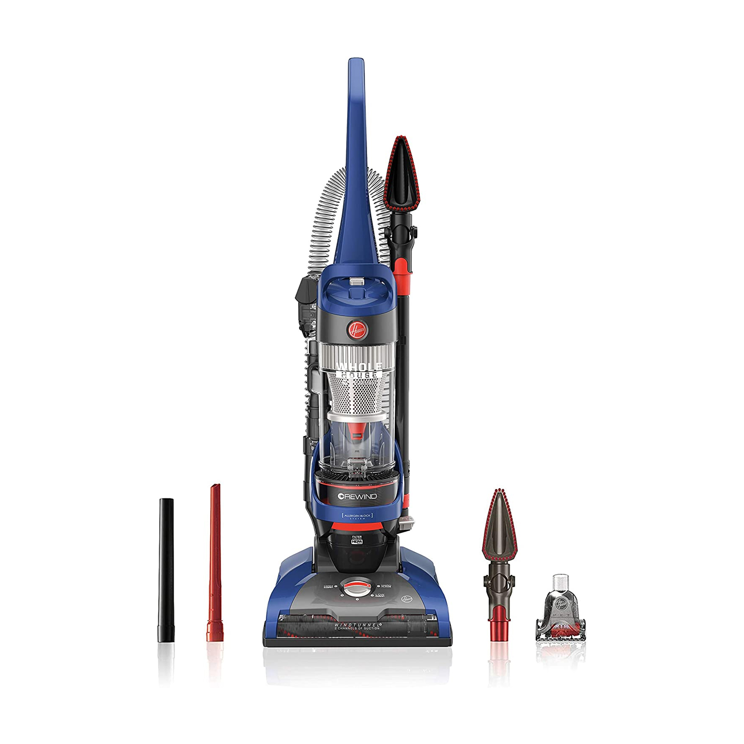 red, gray and blue hoover vacuum cleaner