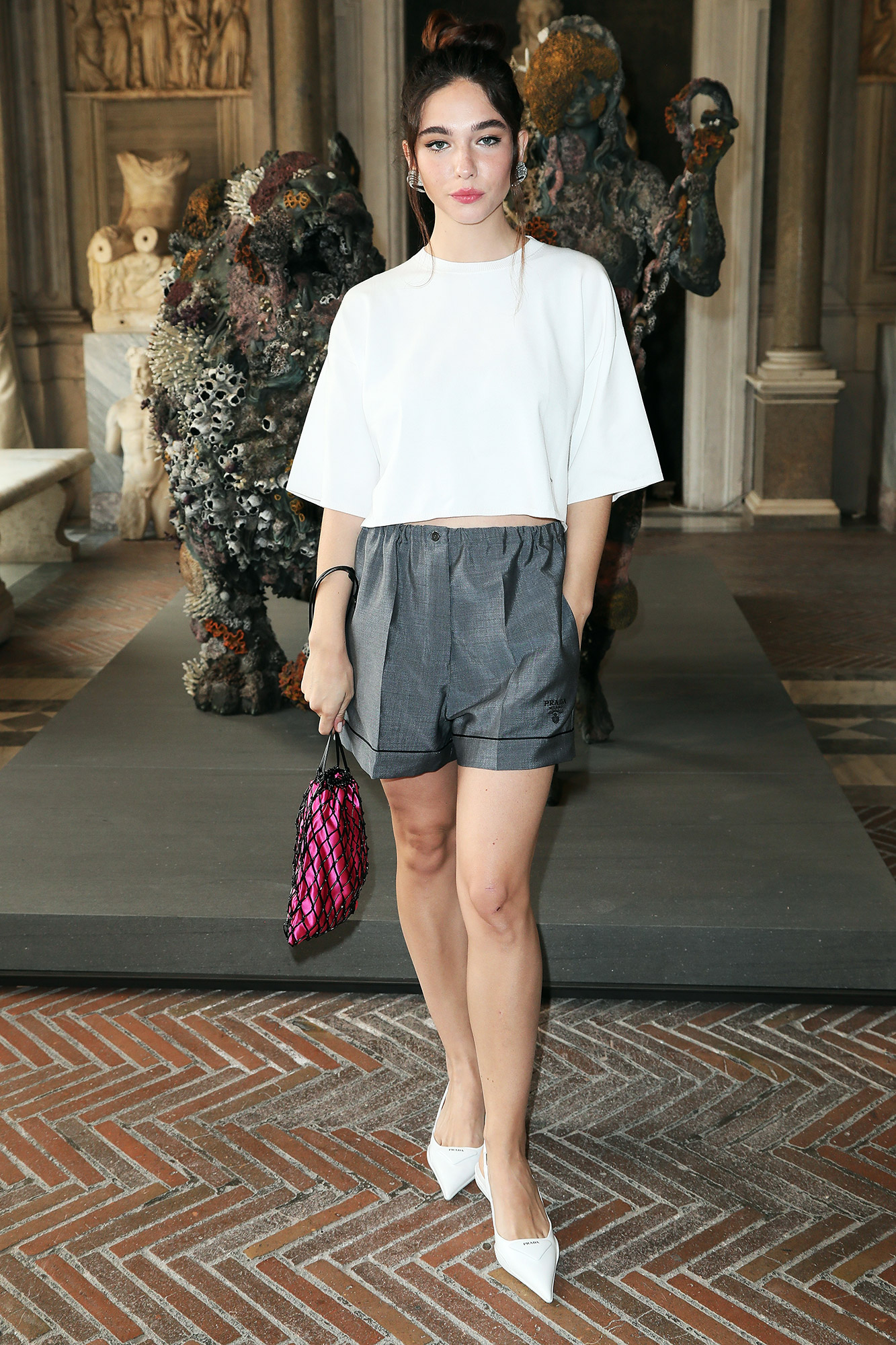 Matilda De Angelis attends Damien Hirst Archaeology now exhibition, sponsored by Prada at Galleria Borghese on June 07, 2021 in Rome, Italy