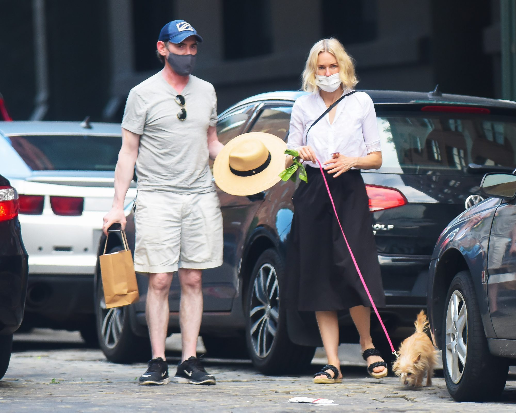 Naomi Watts and Billy Crudup seen out with their dog on June 07, 2021 in New York City