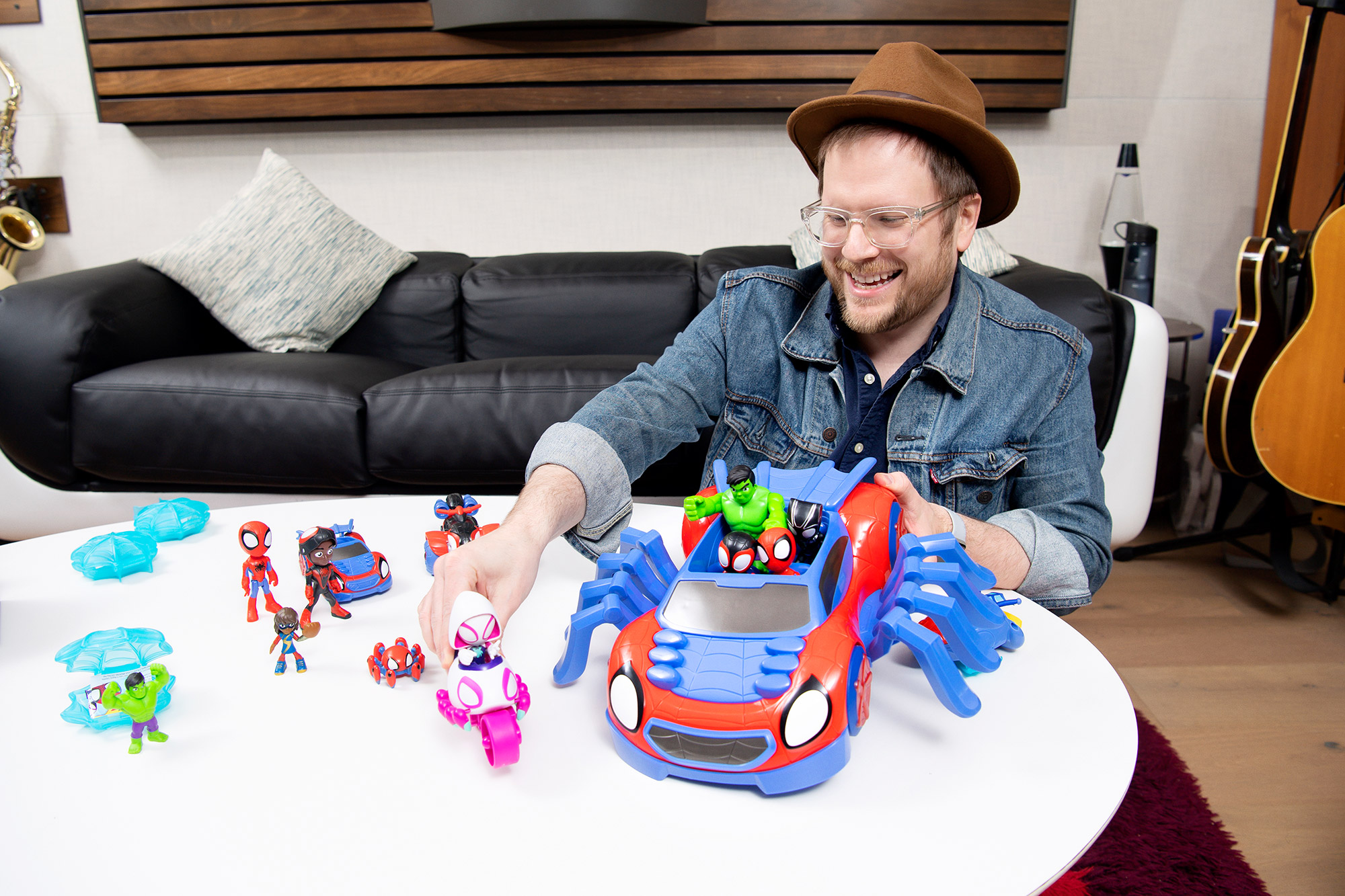 """Award-nominated musician Patrick Stump, who was just announced as the composer and theme song vocalist for """"Marvel's Spidey and his Amazing Friends,"""" gets a first-look at some of the new toys from Hasbro, which will debut later this summer in conjunction with the series premiere on Disney Channel and Disney Junior"""