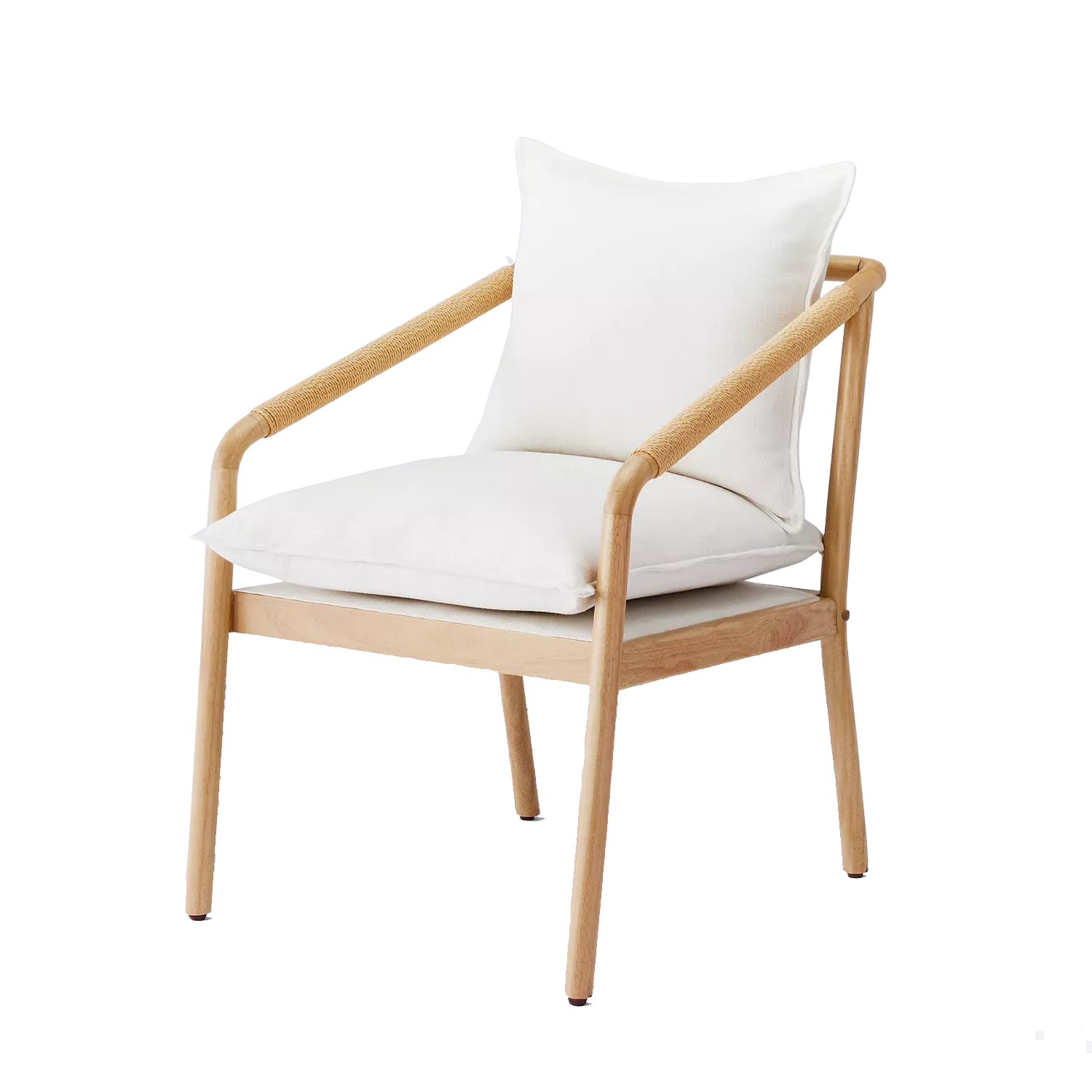 wooden and rattan chair with white cushions