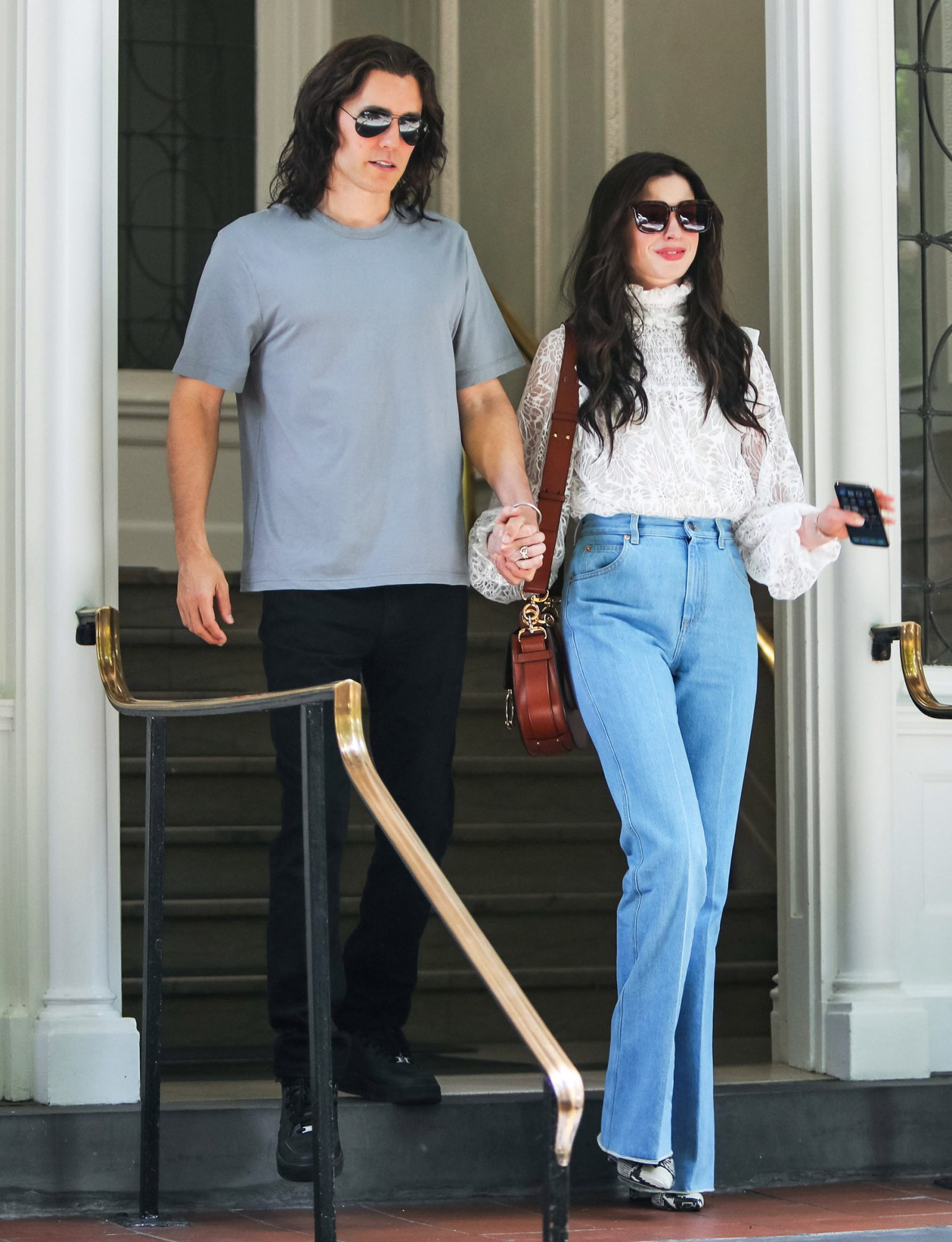 Anne Hathaway and Jared Leto are seen at the film set of the 'WeCrashed' TV Series on June 08, 2021 in New York City
