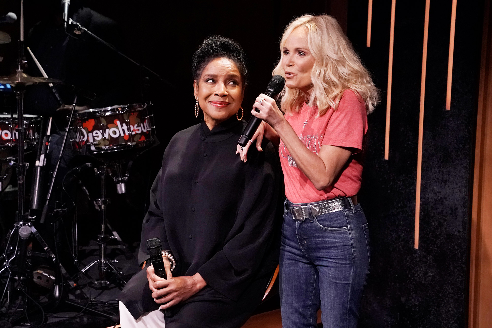 """THE TONIGHT SHOW STARRING JIMMY FALLON -- Episode 1475 -- Pictured: (l-r) Actress Phylicia Rashad and actress Kristin Chenoweth during """"Broadway Is Back"""" on Tuesday, June 8, 2021"""