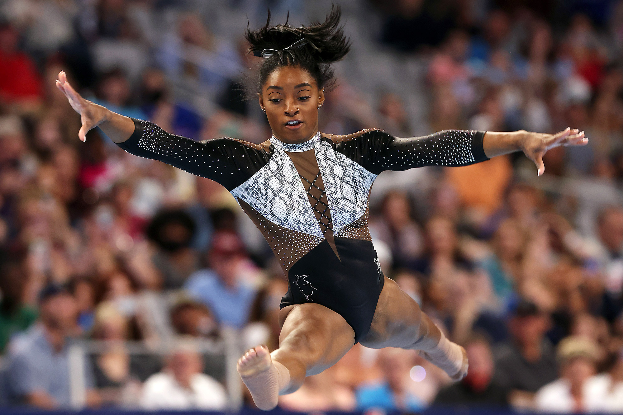 Simone Biles competes in the floor exercise during the Senior Women's competition of the U.S. Gymnastics Championships at Dickies Arena on June 06, 2021 in Fort Worth