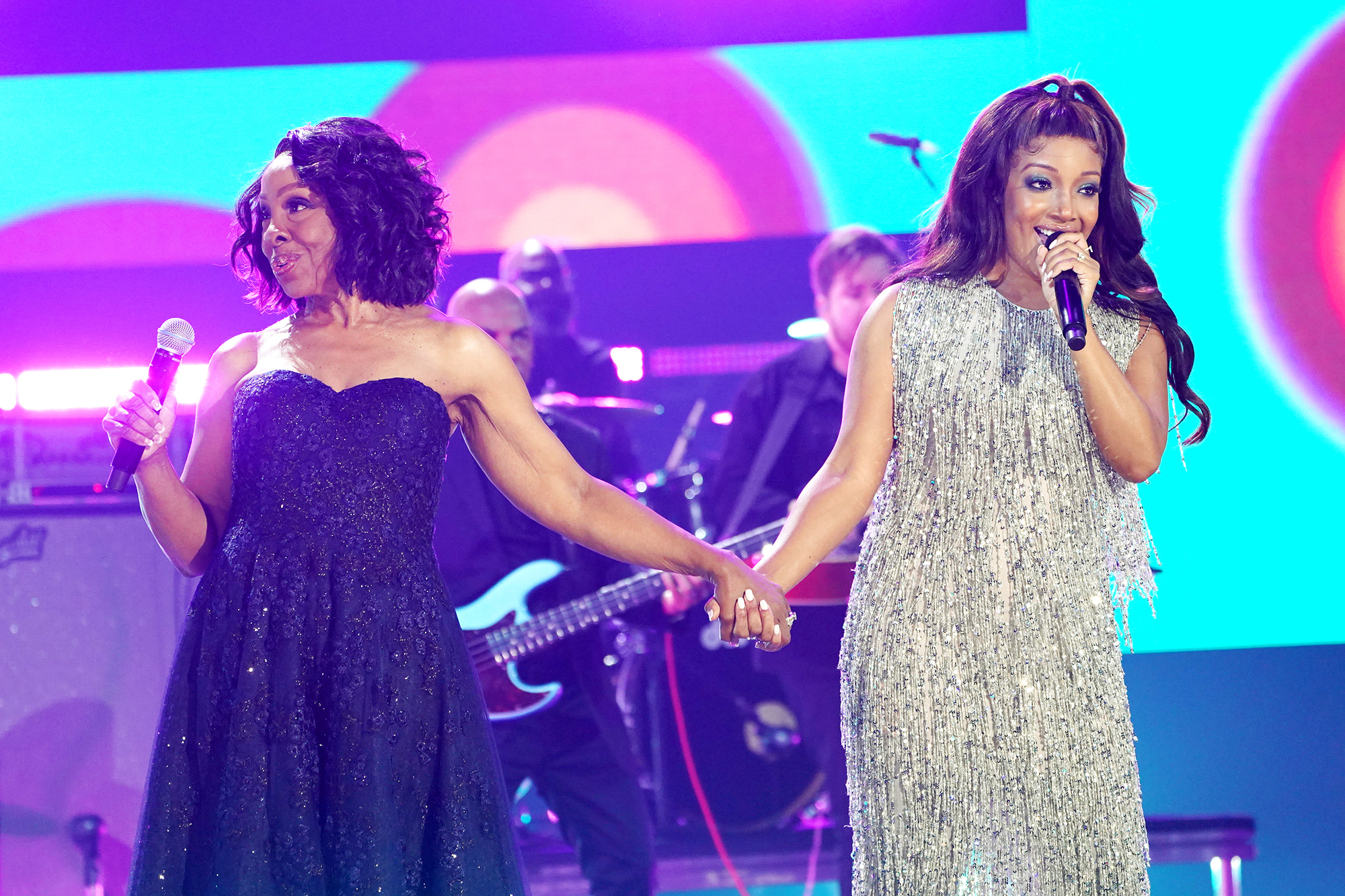 Gladys Knight and Mickey Guyton perform onstage for the 2021 CMT Music Awards at Bridgestone Arena on June 09, 2021