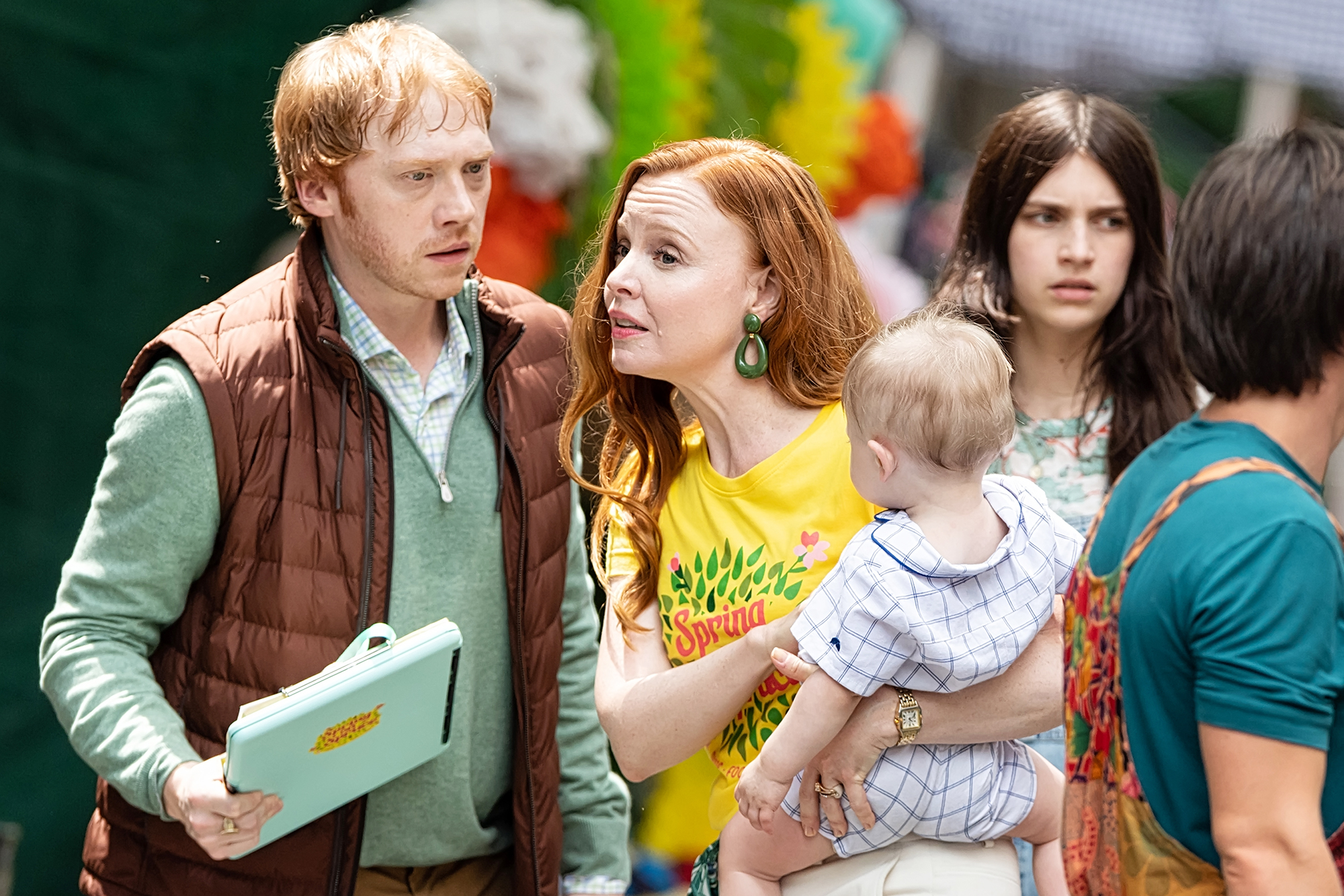 """Rupert Grint, Lauren Ambrose and Nell Tiger Free are seen filming scenes on set of Apple TV+ streaming television series """"Servant"""" Season 3 on June 09, 2021 in Philadelphia, Pennsylvania, United States"""