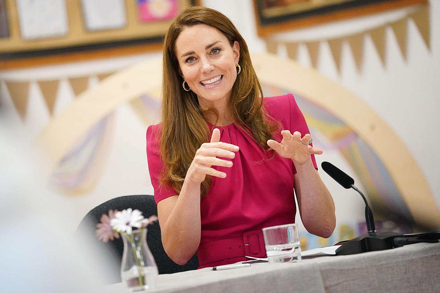 The Duchess of Cambridge participating in a roundtable discussion