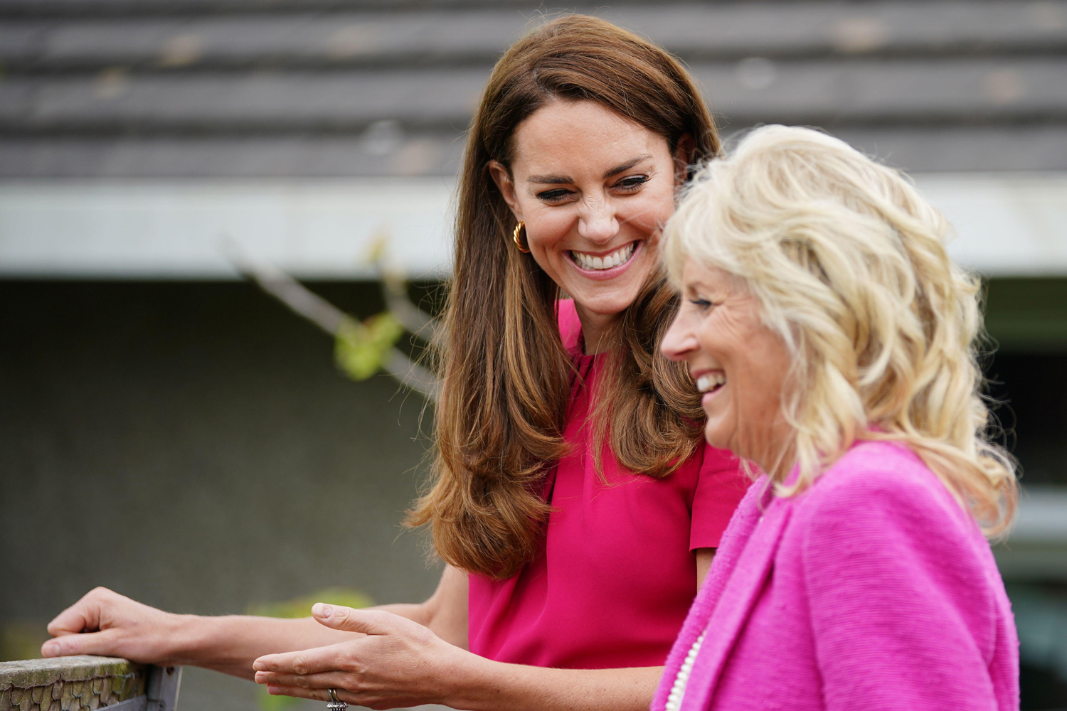 The Duchess of Cambridge (right) and US First Lady Jill Biden during a visit to Connor Downs Academy
