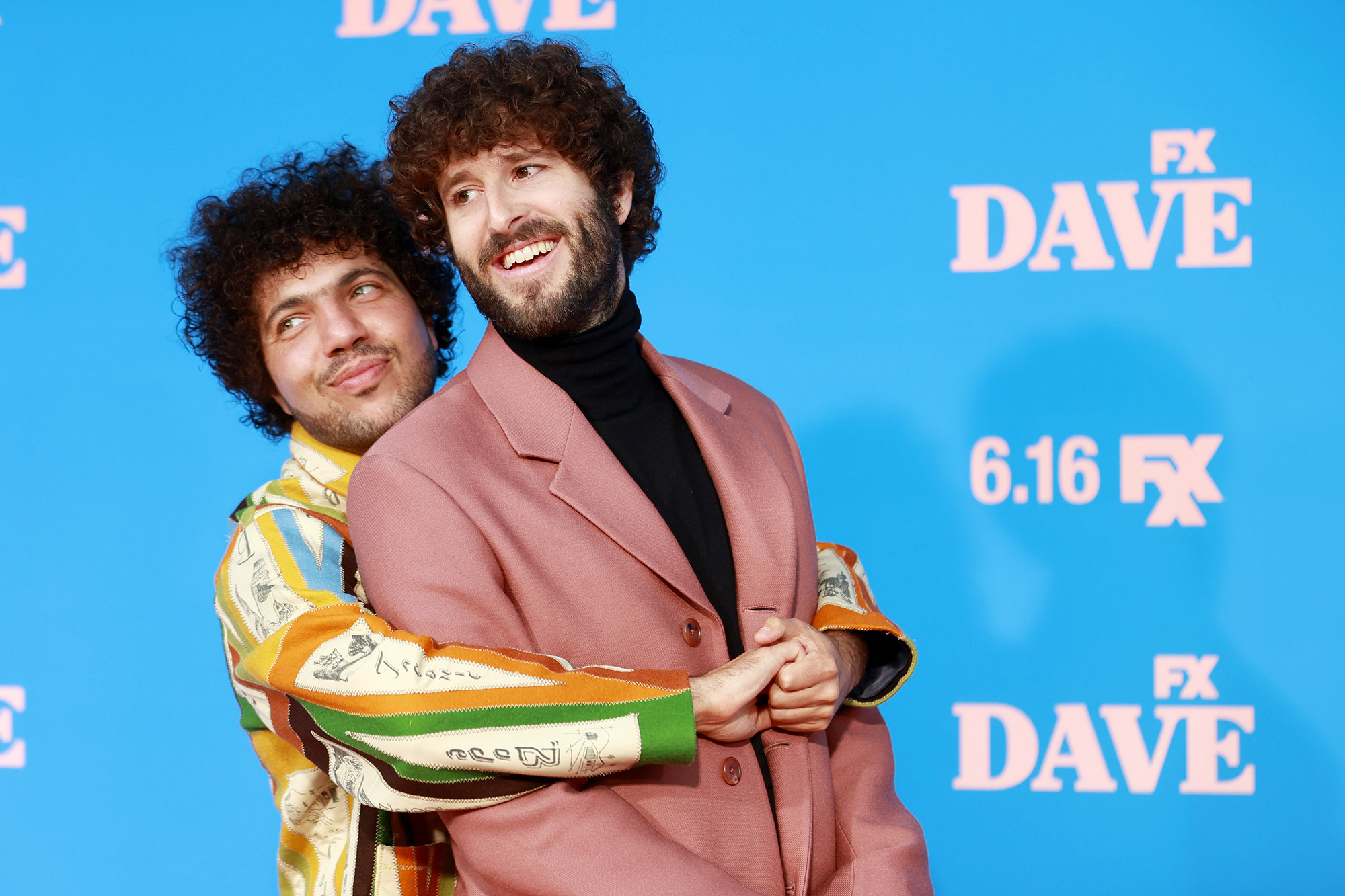"""Benny Blanco and Dave Burd attend FXX, FX and Hulu's Season 2 Red Carpet Premiere Of """"Dave"""" at The Greek Theatre on June 10, 2021 in Los Angeles"""