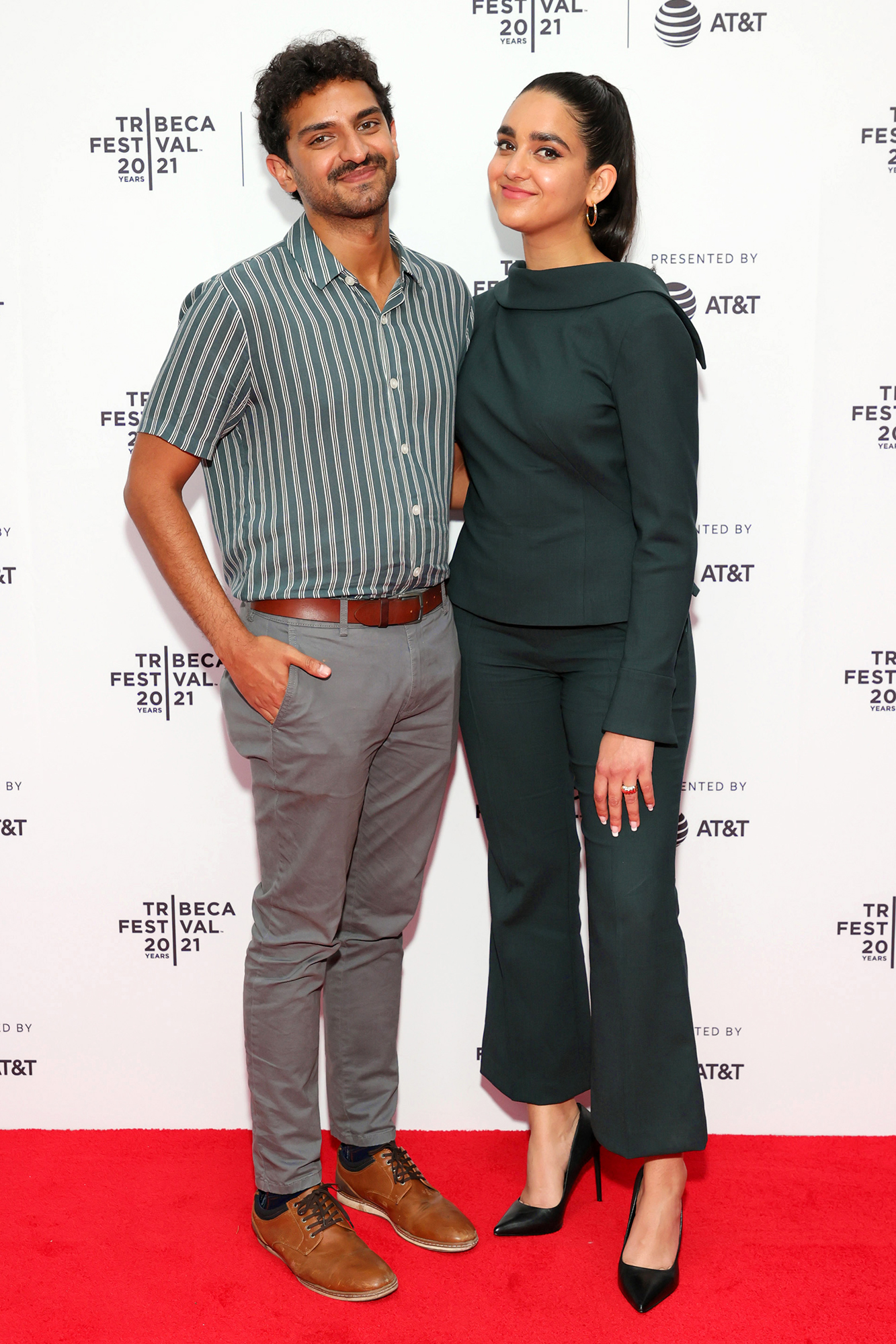 """Karan Soni and Geraldine Viswanathan attend the 2021 Tribeca Festival Premiere of """"7 Days"""" at Brooklyn Commons at MetroTech on June 10, 2021 in New York City"""