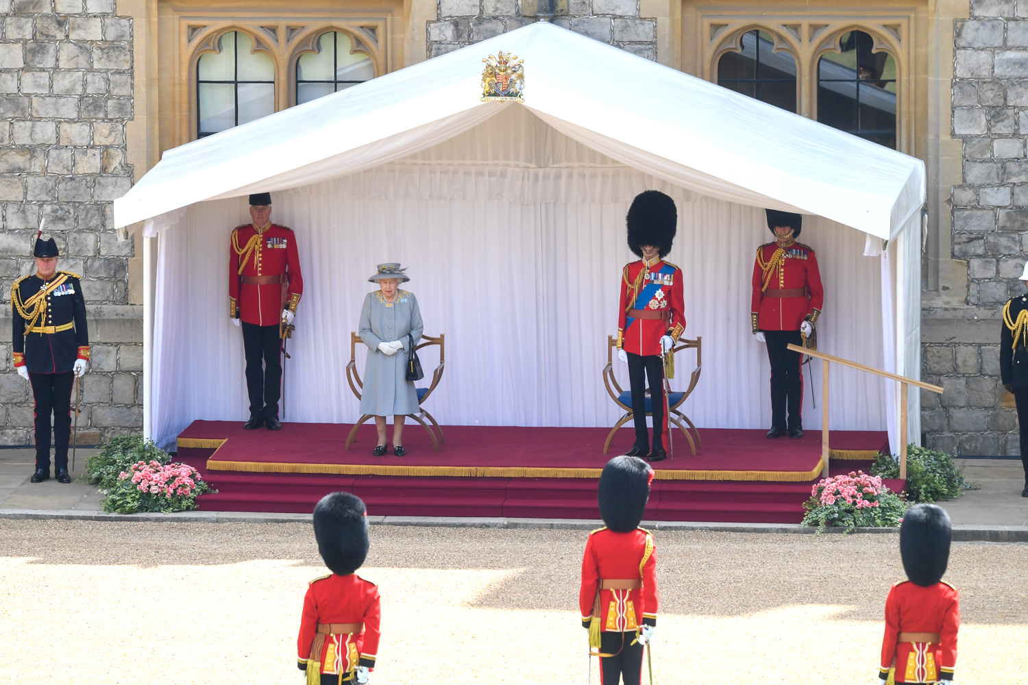 The Queen Arrives At The Trooping Of The Colour 2021
