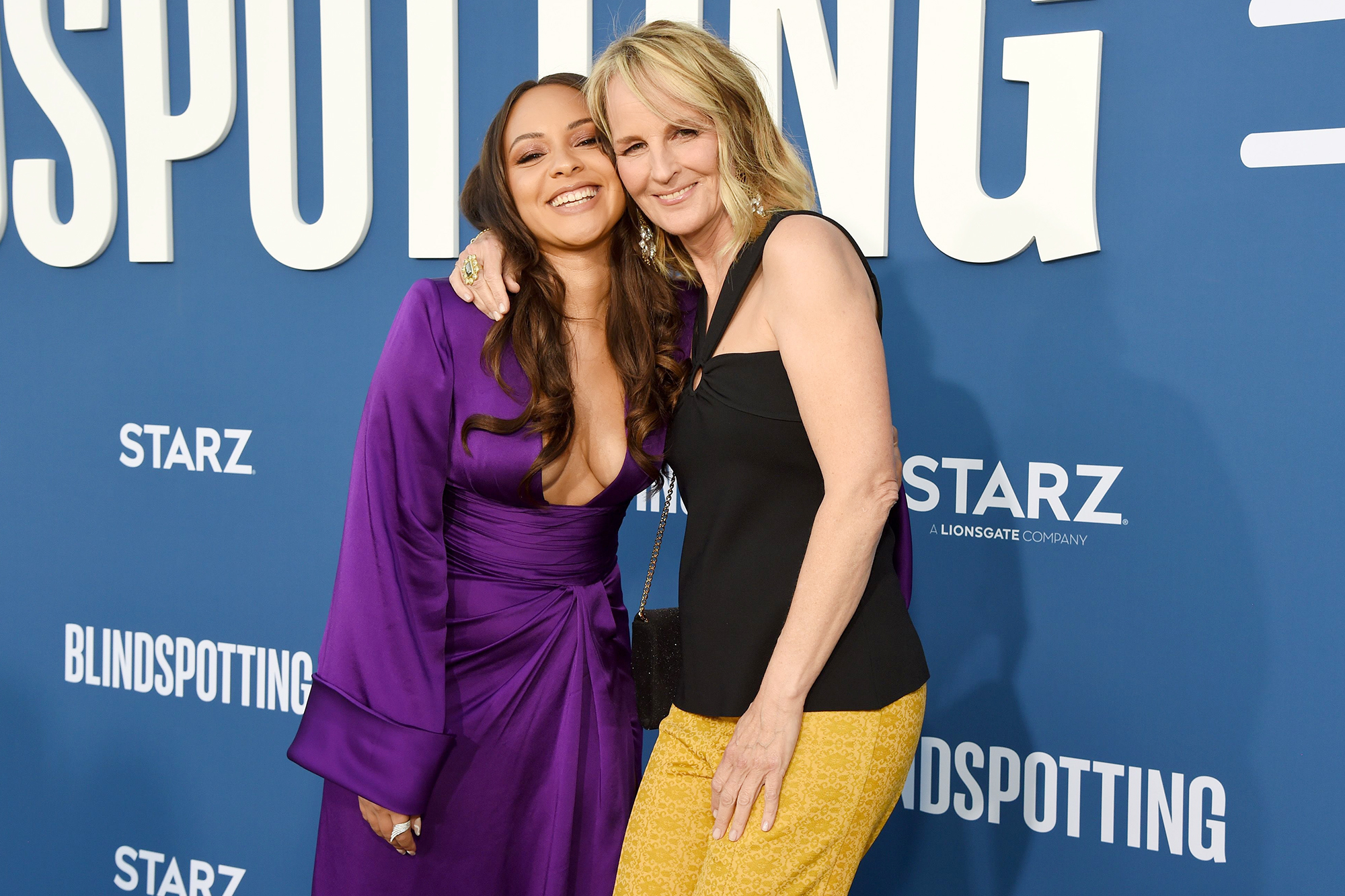 Jasmine Cephas Jones and Helen Hunt attend the Blindspotting Los Angeles Premiere at Hollywood Forever on June 13, 2021 in Hollywood