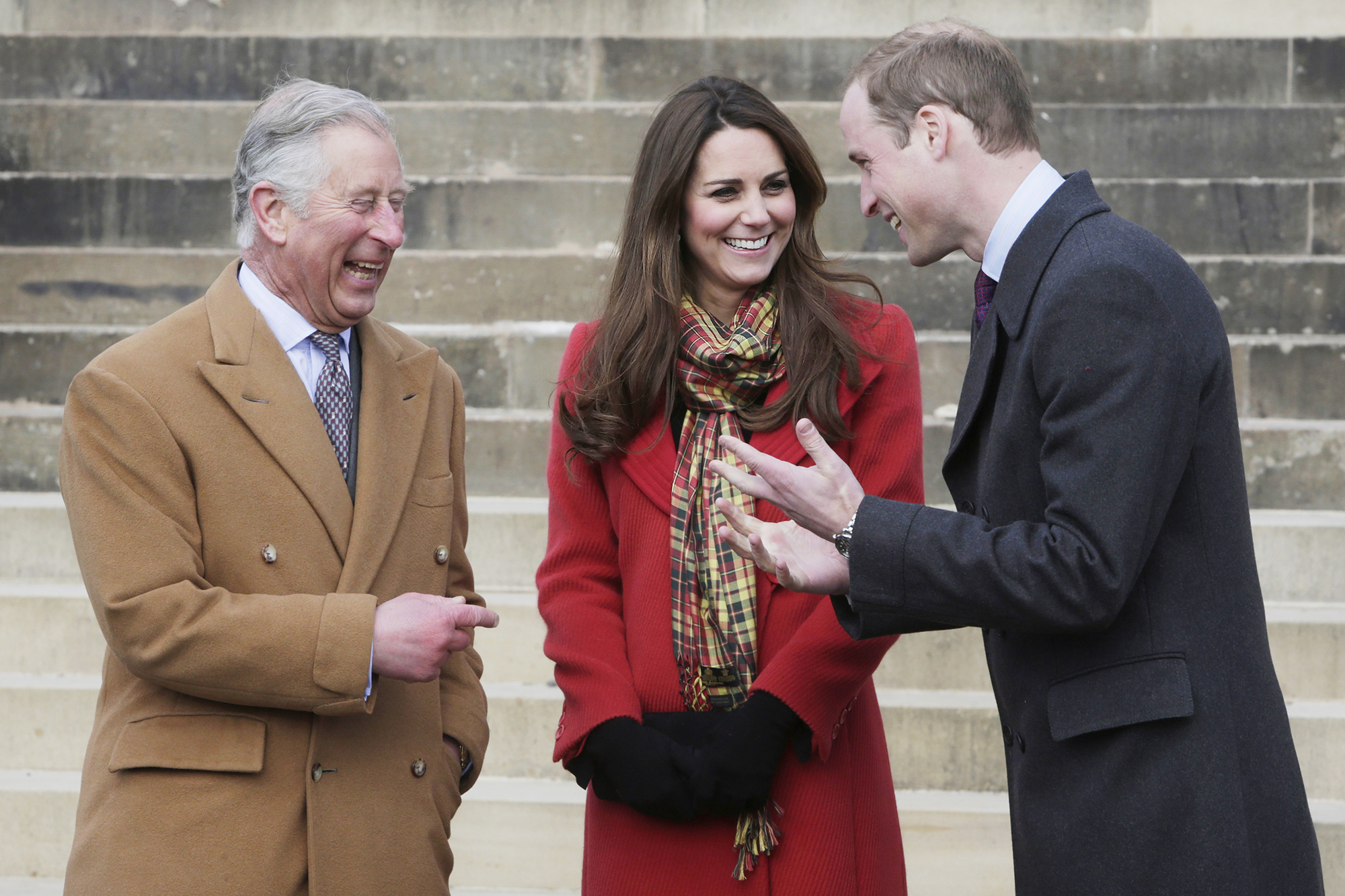 Prince Charles, Prince of Wales, known as the Duke of Rothesay, Catherine, Duchess of Cambridge, known as the Countess of Strathearn, and Prince William, Duke of Cambridge, known as the Earl of Strathearn, when in Scotland during a visit to Dumfries House on March 05, 2013 in Ayrshire