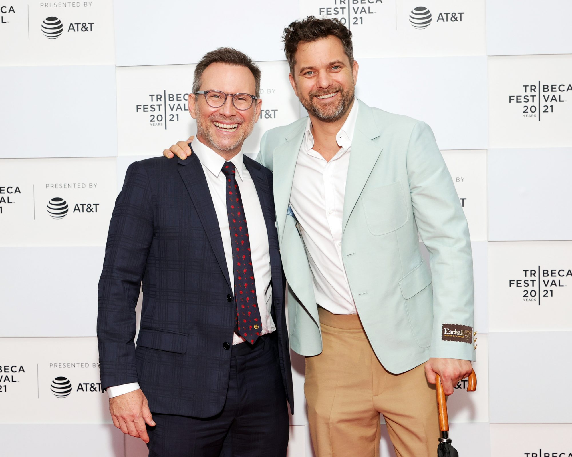 """Christian Slater and Joshua Jackson attend 2021 Tribeca Festival Premiere of """"Dr. Death"""" at Pier 76 on June 14, 2021 in New York City"""