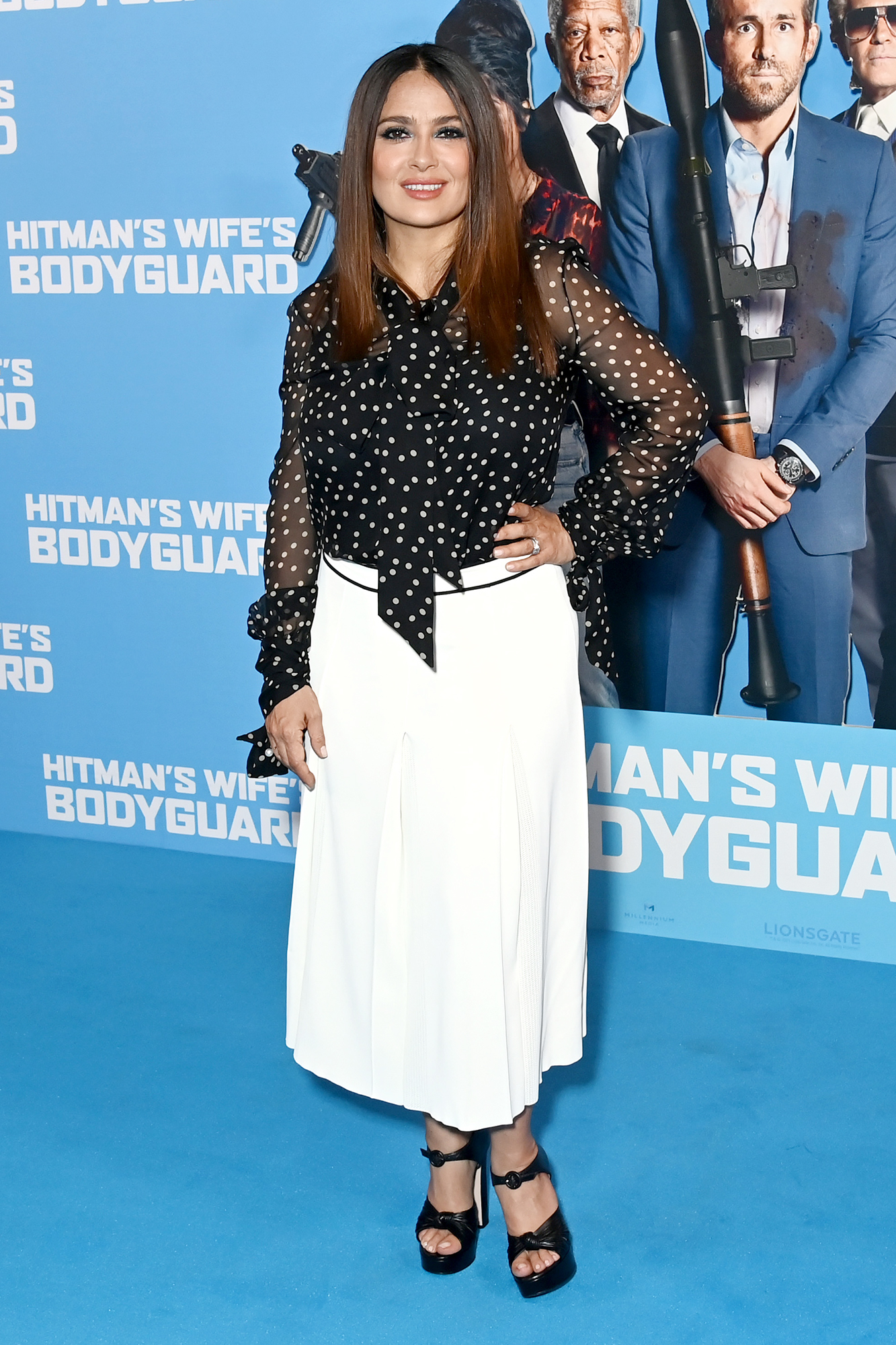"""Salma Hayek attends the """"Hitman's Wife's Bodyguard"""" special screening at Cineworld Leicester Square on June 14, 2021 in London, England"""