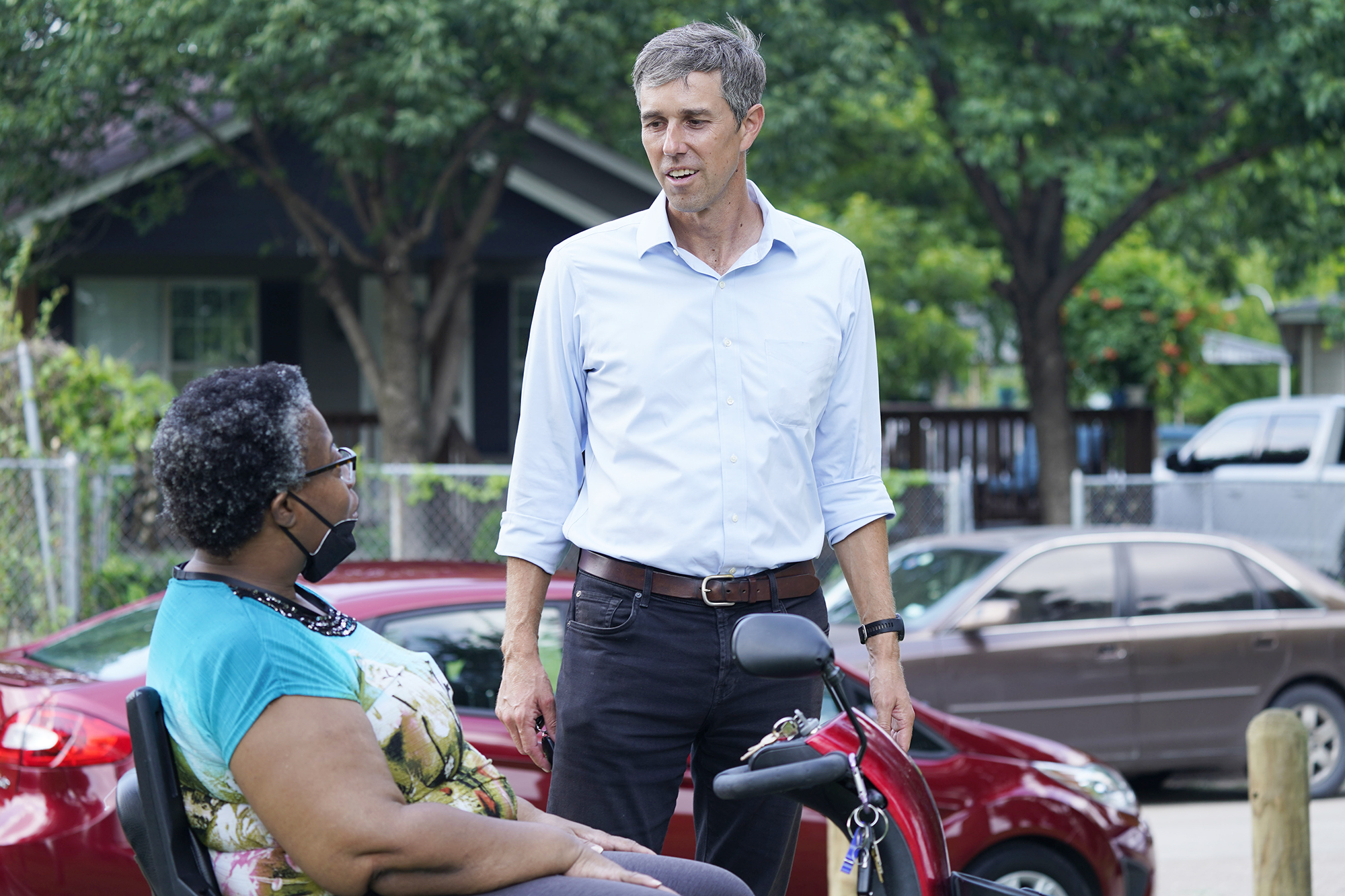 Beto O'Rourke, right, speaks with Stephanie Hanson before a canvassing drive by the Texas Organizing Project in West Dallas . The former congressman and senatorial candidate is driving an effort to gather voter support to stop Texas' SB7 voting legislation Texas Organizing Project Beto, Dallas, United States - 09 Jun 2021