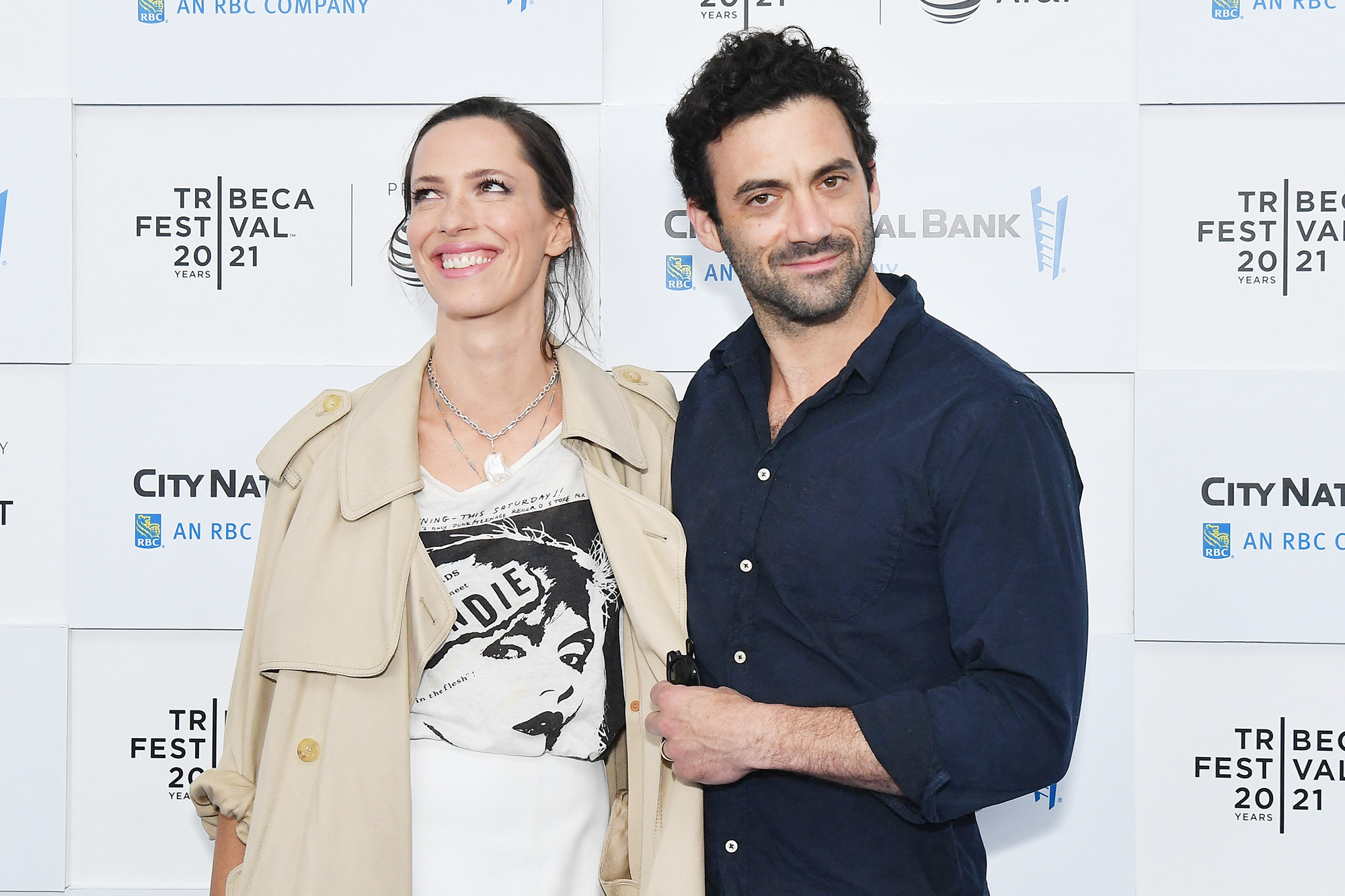 """Englist actress Rebecca Hall and her husband actor Morgan Spector attend the """"Blondie: Vivir En La Habana"""" premiere during the 2021 Tribeca Festival at Battery Park on June 16, 2021 in New York City."""