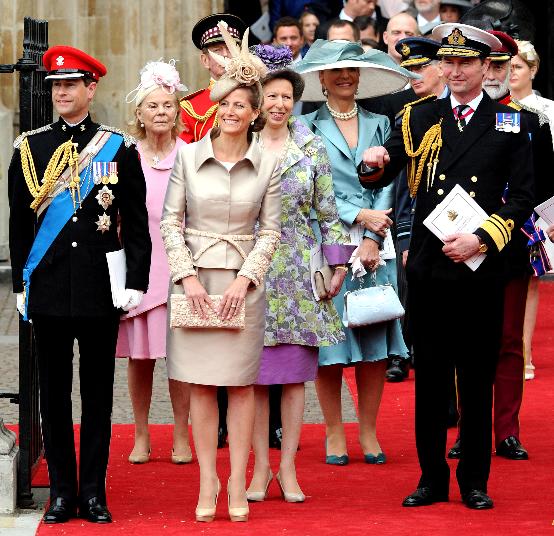 Prince Edward, Sophie, the Countess of Wessex, the Duchess of Kent, Anne, the Princess Royal , Princess Michael of Kent and the Vice-Admiral Timothy Laurence