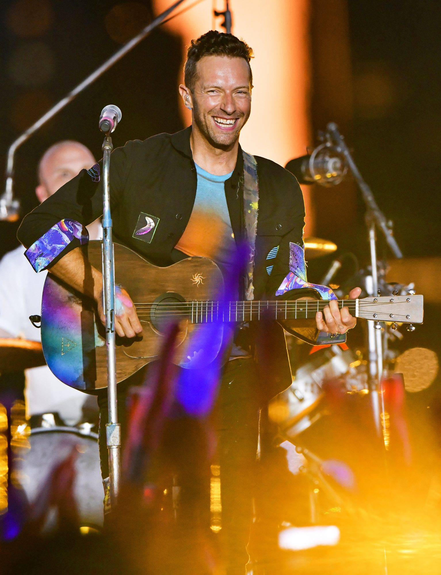 Chris Martin of Coldplay performs during pre-taping of the Macy's 4th of July Firework Show at Hunter's Point South Park on June 17, 2021 in New York City