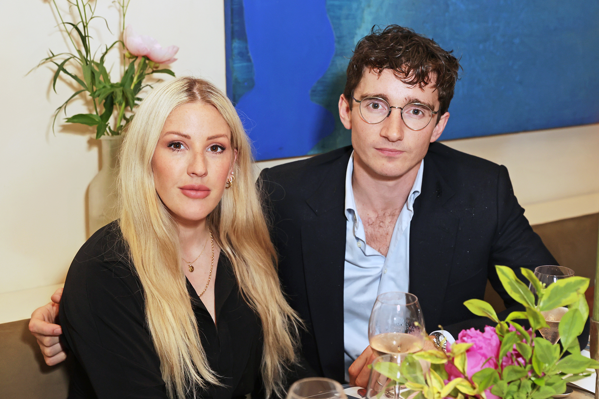 """Ellie Goulding and Caspar Jopling attend a private view, dinner and auction of multi-disciplinary artist Lily Lewis' new collection """"Safe Places"""" in partnership with Petersham Nurseries in support of Refuge at Carriage Hall at on June 17, 2021 in London, England."""