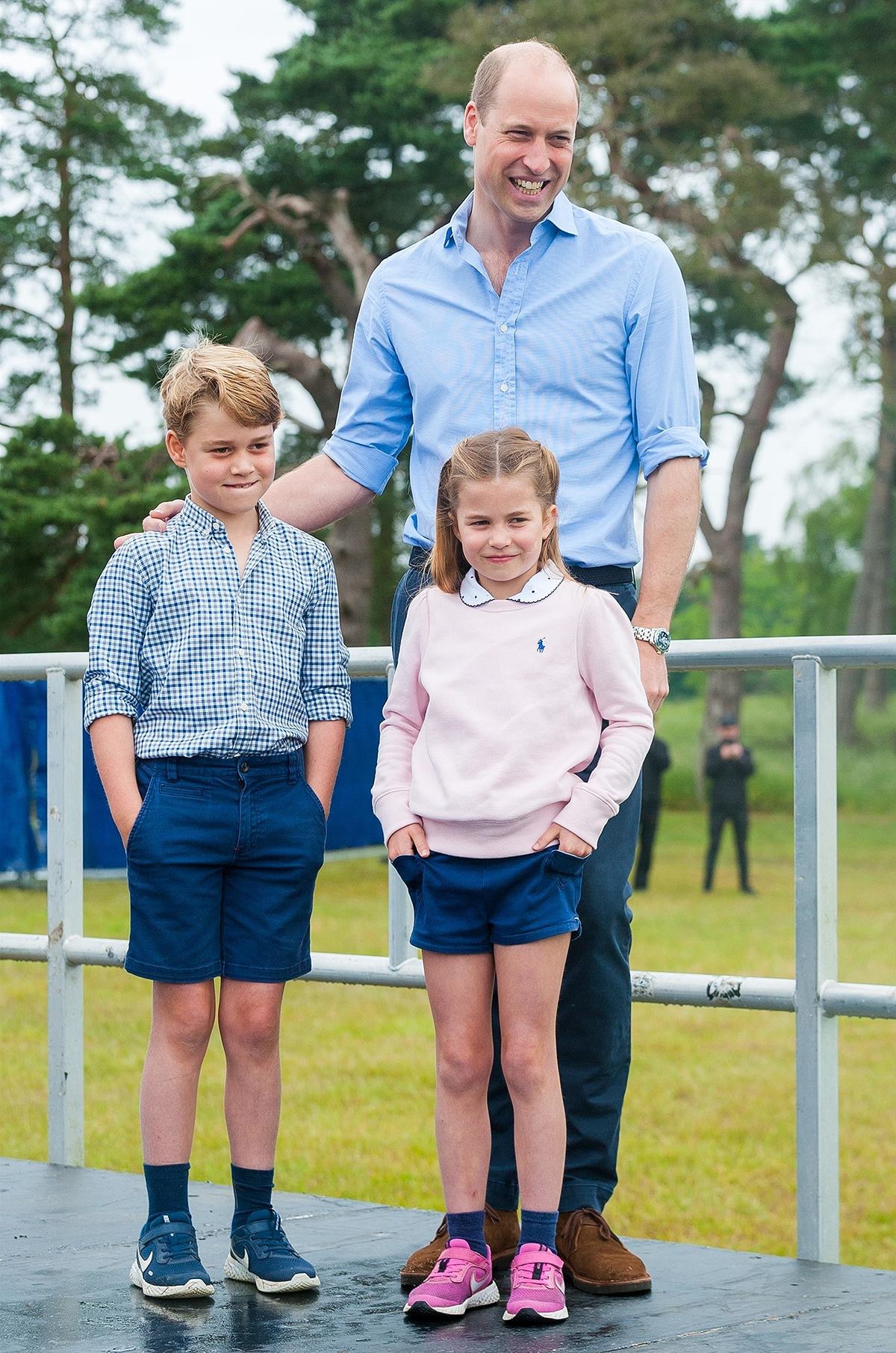 Prince William, Duke of Cambridge arrives at the Sandringham Estate in Sandringham, Norfolk to host the start of a half marathon with his kids Prince George and Princess Charlotte.