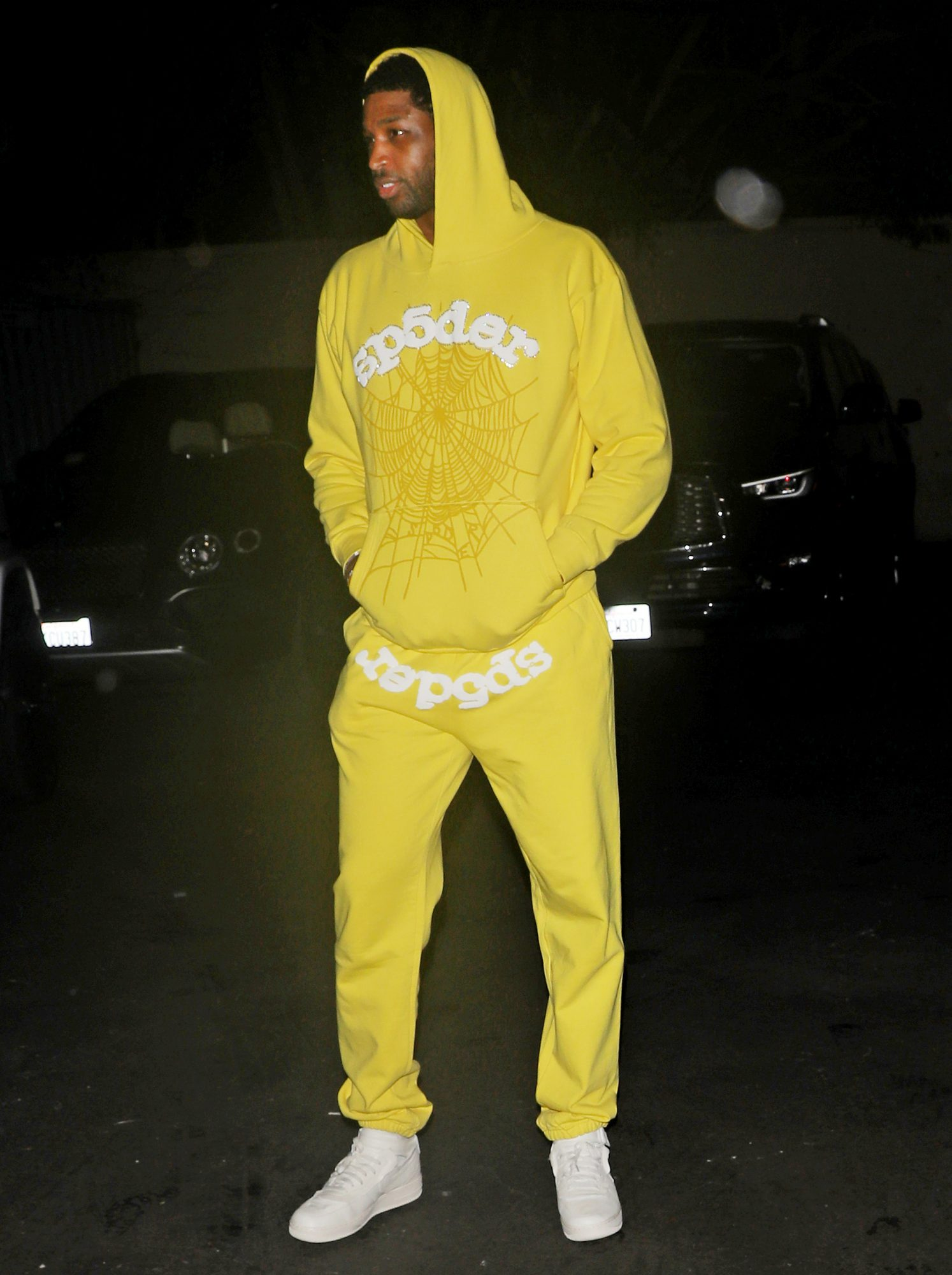 Tristan Thompson sports all yellow as he parties at Nightingale Plaza night club with friends in Los Angeles.