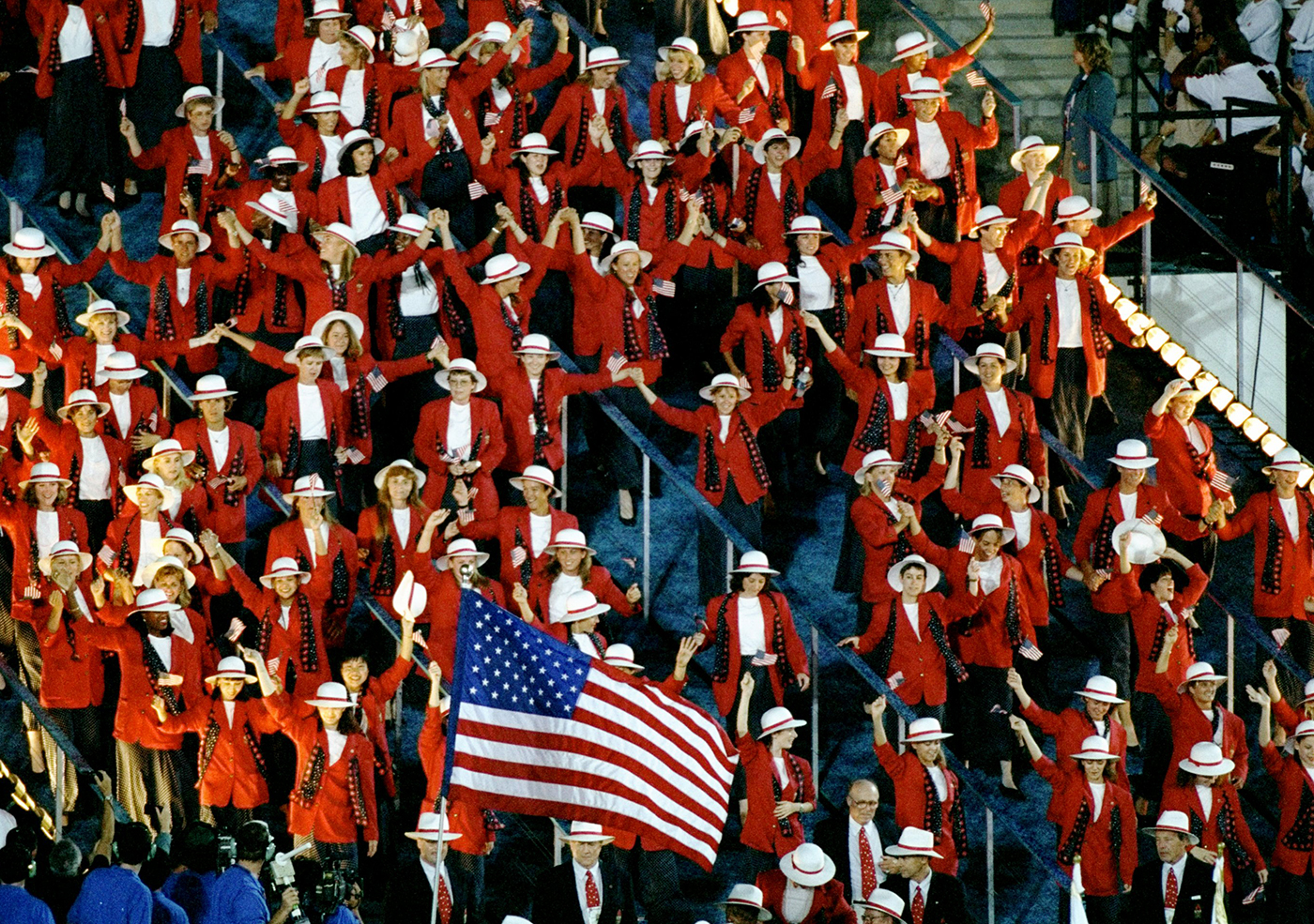 19 Jul 1996: The team from the USA enter the Olympic Stadium during the Opening Ceremony of the 1996 Olympic Games in Atlanta