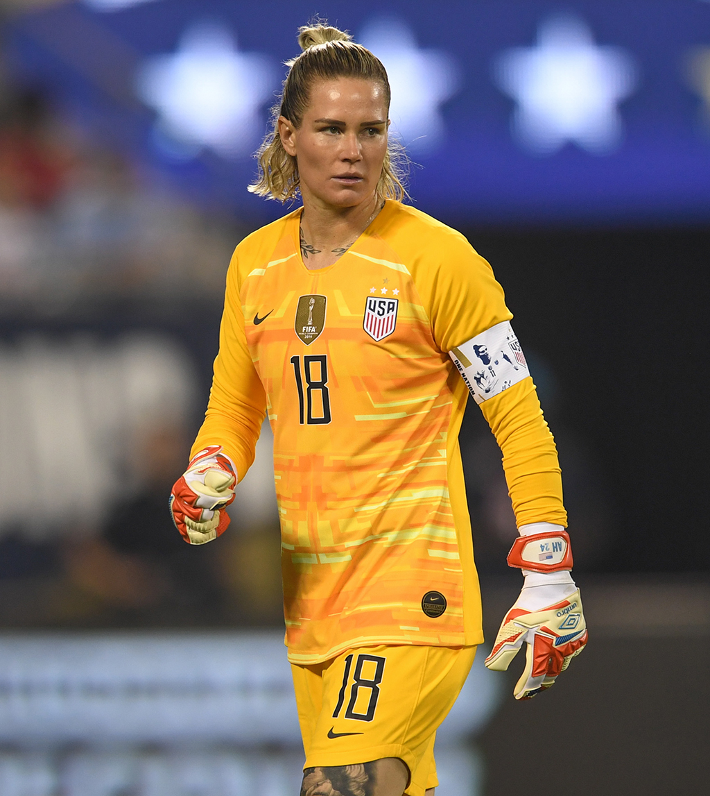 Ashlyn Harris #18 of the United States looks downfield during their game versus Korea Republic at Bank of American Stadium, on October 03, 2019