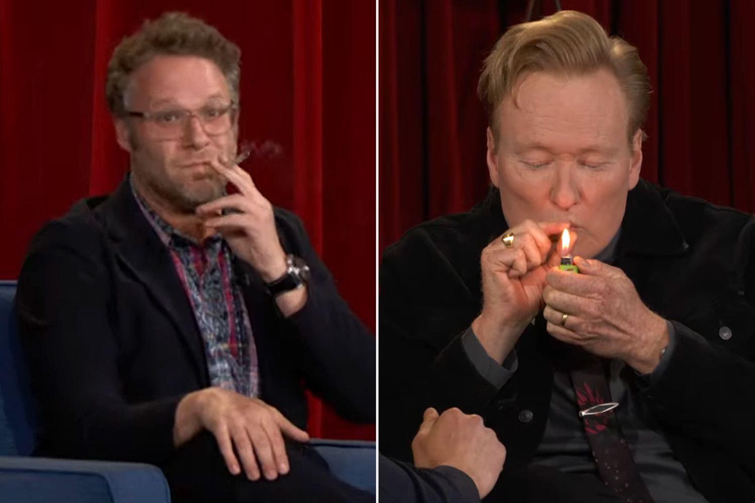 Conan Takes A Hit Of Seth Rogen's Joint