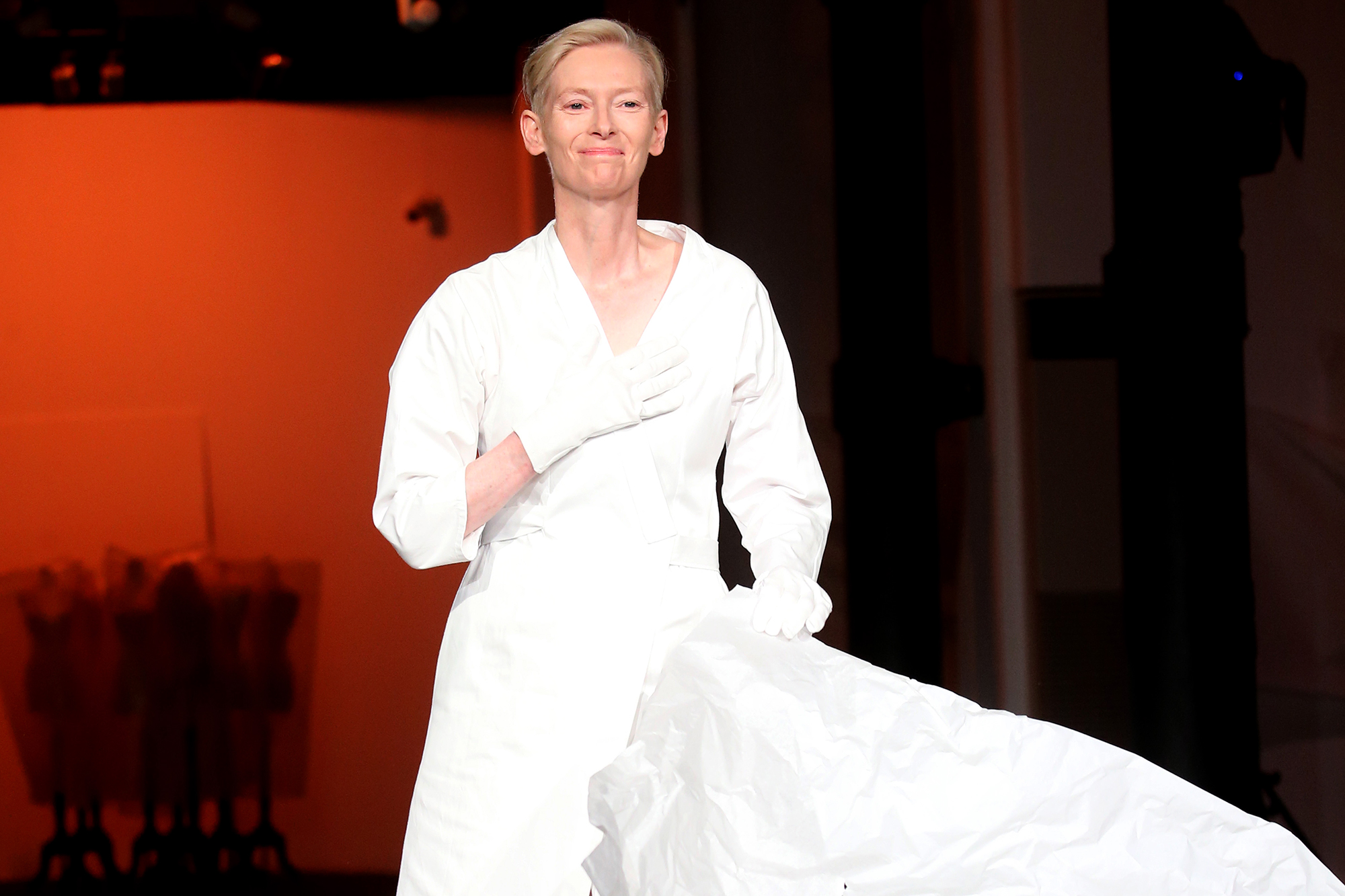 """Model and actress Tilda Swinton, wearing an original costume for Pier Paolo Pasolini's film 'Decameron', performs during """"Embodying Pasolini"""" Press Conference at the Mattatoio (Rome's former Slaughterhouse) on June 24, 2021 in Rome, Italy"""