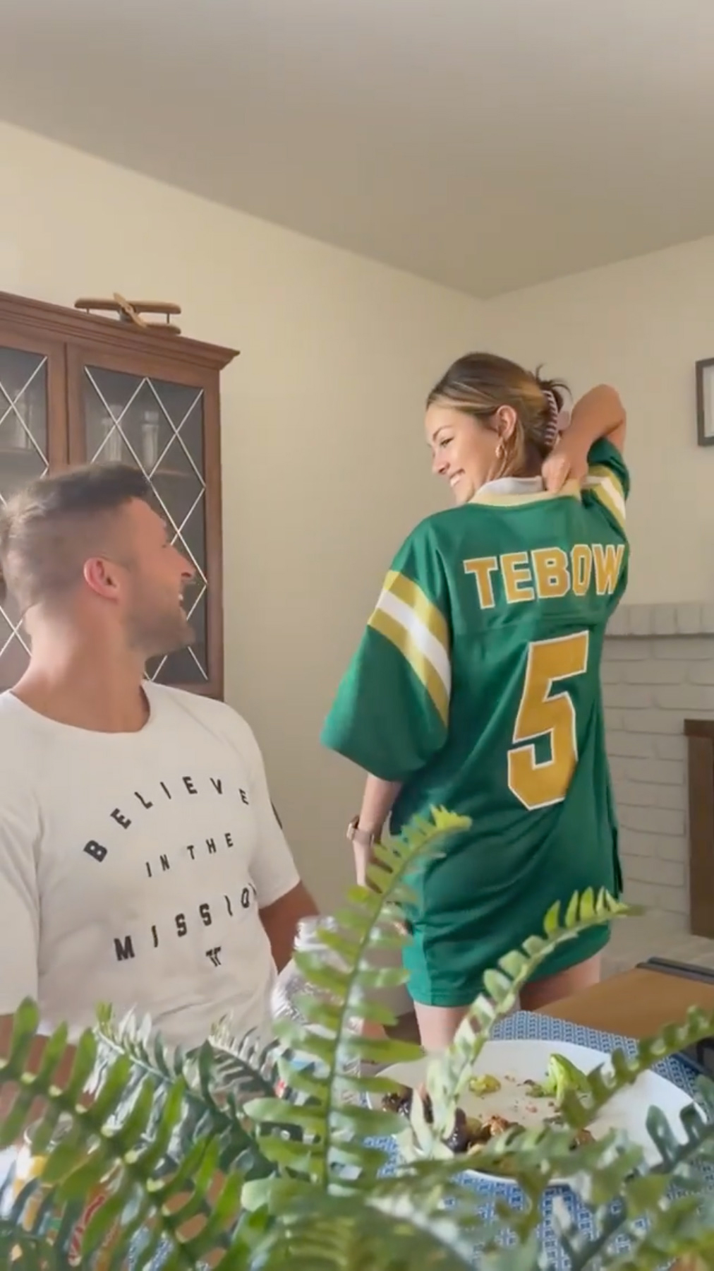 Demi-Leigh Nel-Peters Surprises Husband Tim Tebow Wearing Replica of His High School Football Jersey