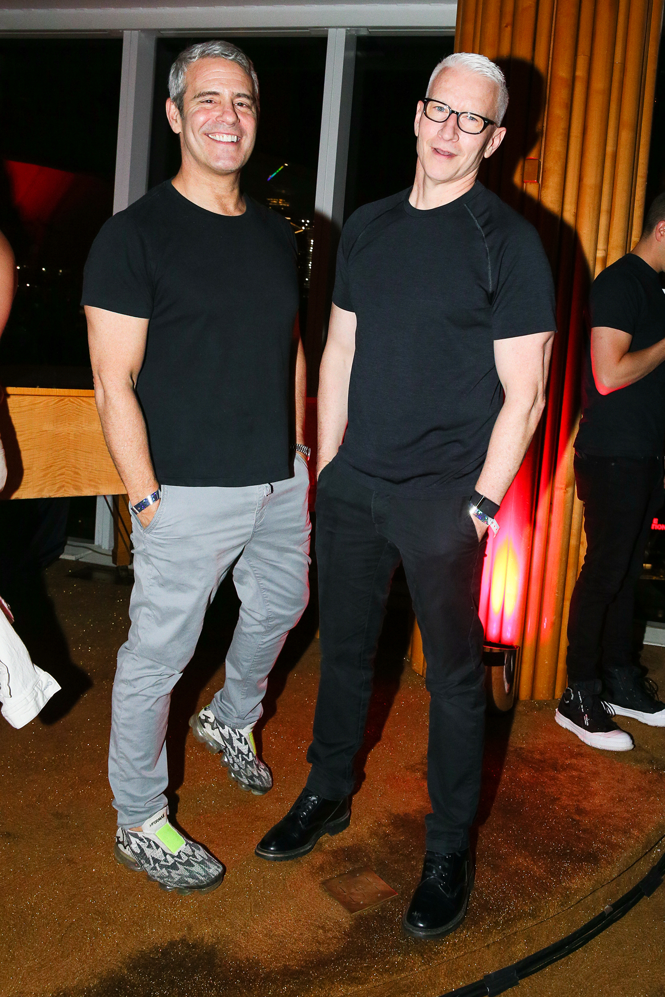 Andy Cohen and Anderson Cooper attend The Standard, High Line Kicks-Off New York Pride with Madonna at The Standard High Line, NYC on June 24, 2021