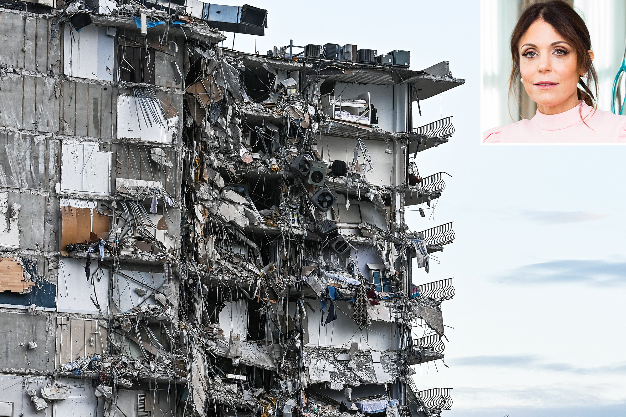 Rubble hangs from a partially collapsed building in Surfside north of Miami Beach, on June 24, 2021 -- Bethenny Frankel