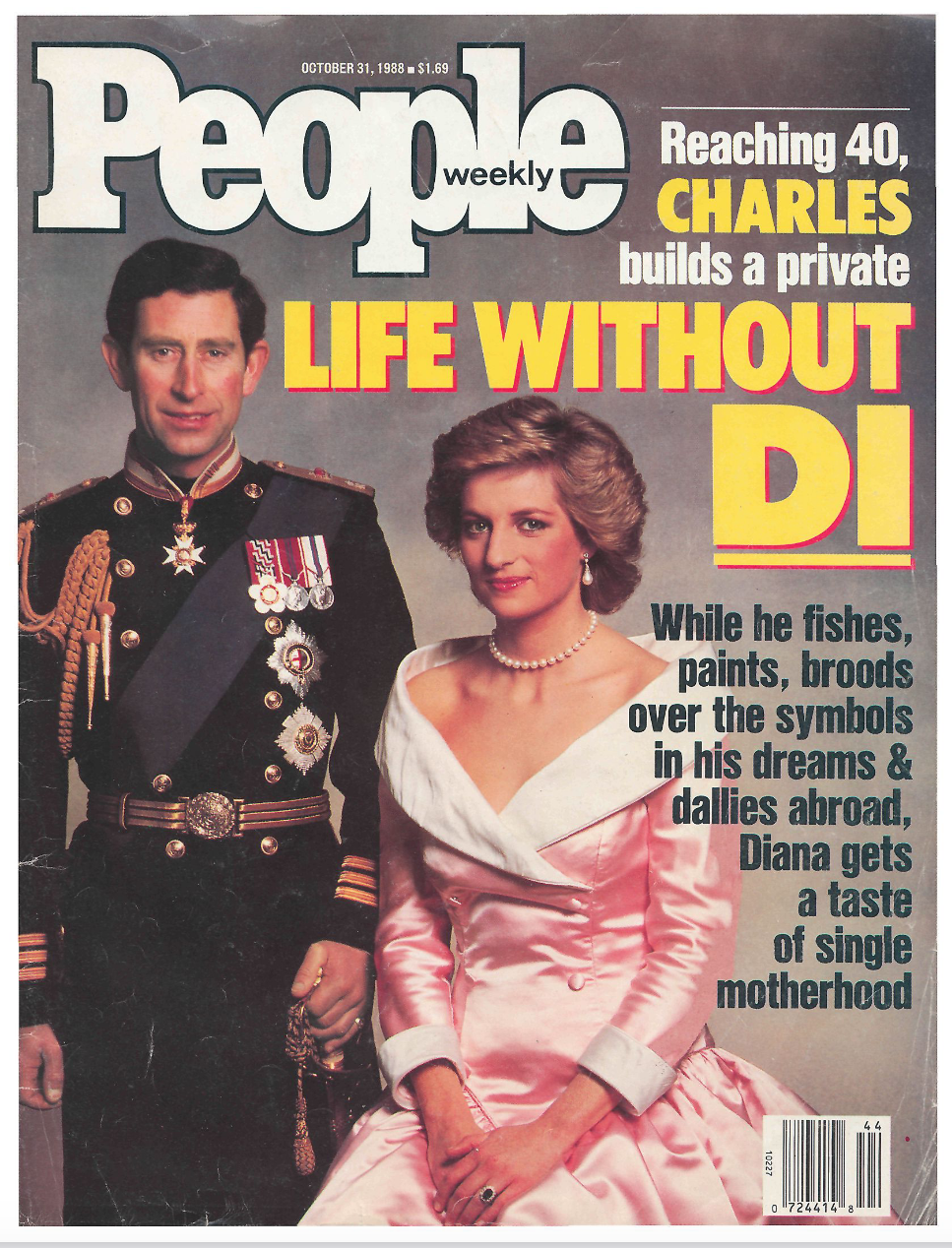 """As Charles """"fishes, paints, broods over the symbols in his dreams and dallies abroad, Diana gets a taste of single motherhood,"""" read a cover foreshadowing the future of their relationship."""