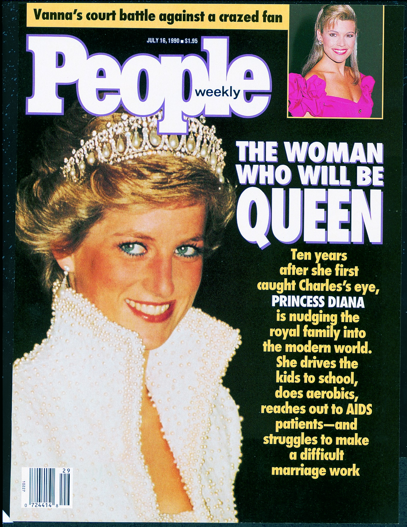 """A thoroughly modern royal at the time, Diana gained popularity in part for her devotion to keeping things real. """"She drives the kids to school, does aerobics, reaches out to AIDS patients — and struggles to make a difficult marriage work,"""" read PEOPLE's cover."""