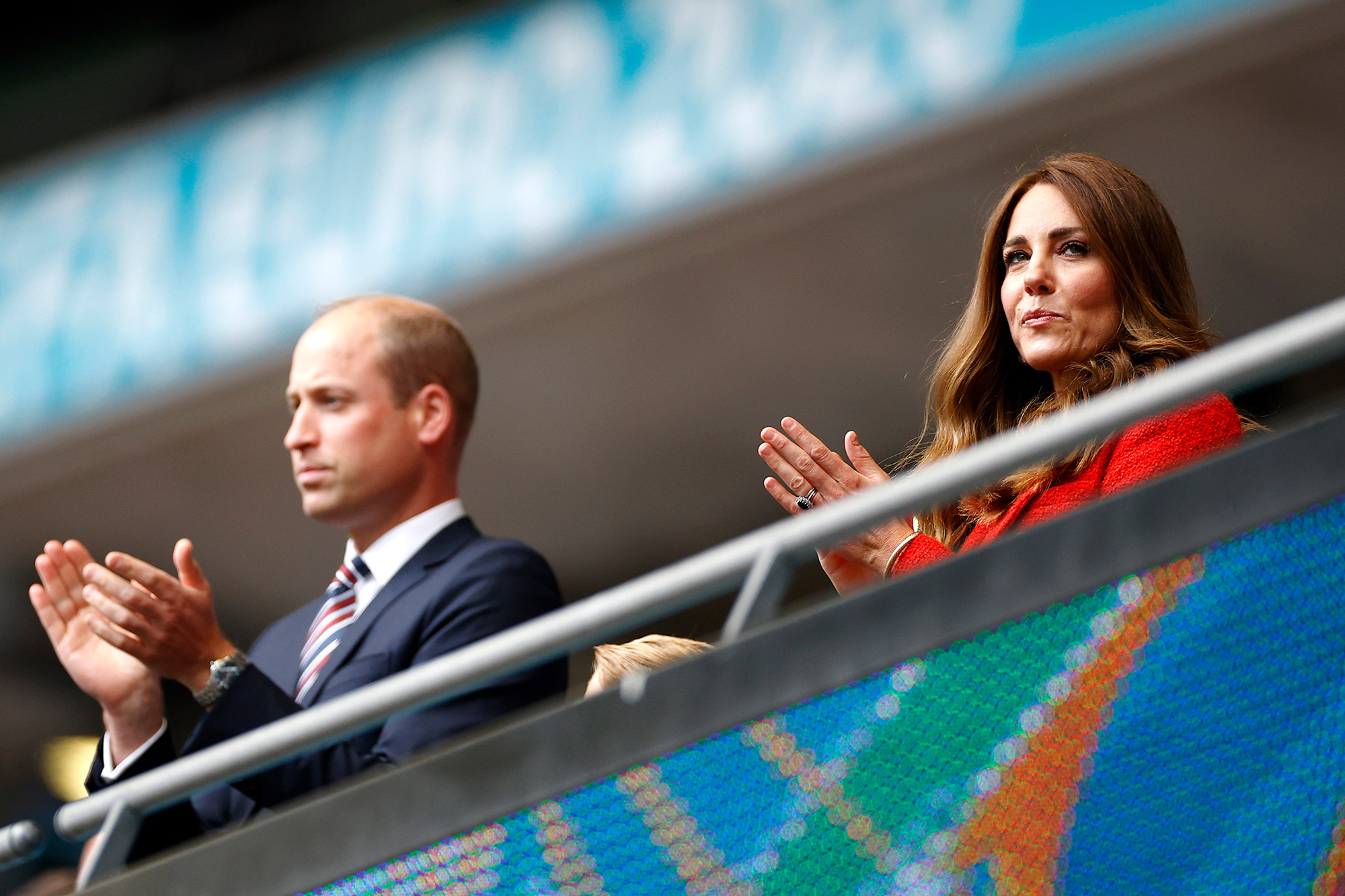 Prince William, President of the Football Association along with Catherine, Duchess of Cambridge applaud prior to the UEFA Euro 2020 Championship Round of 16 match between England and Germany at Wembley Stadium on June 29, 2021 in London
