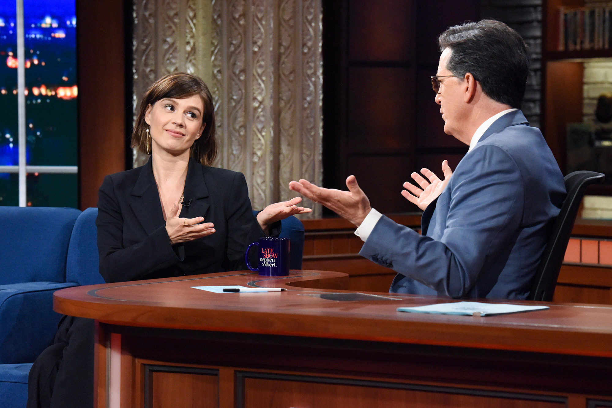 The Late Show with Stephen Colbert and guest Katja Herbers during Monday's June 28, 2021 show