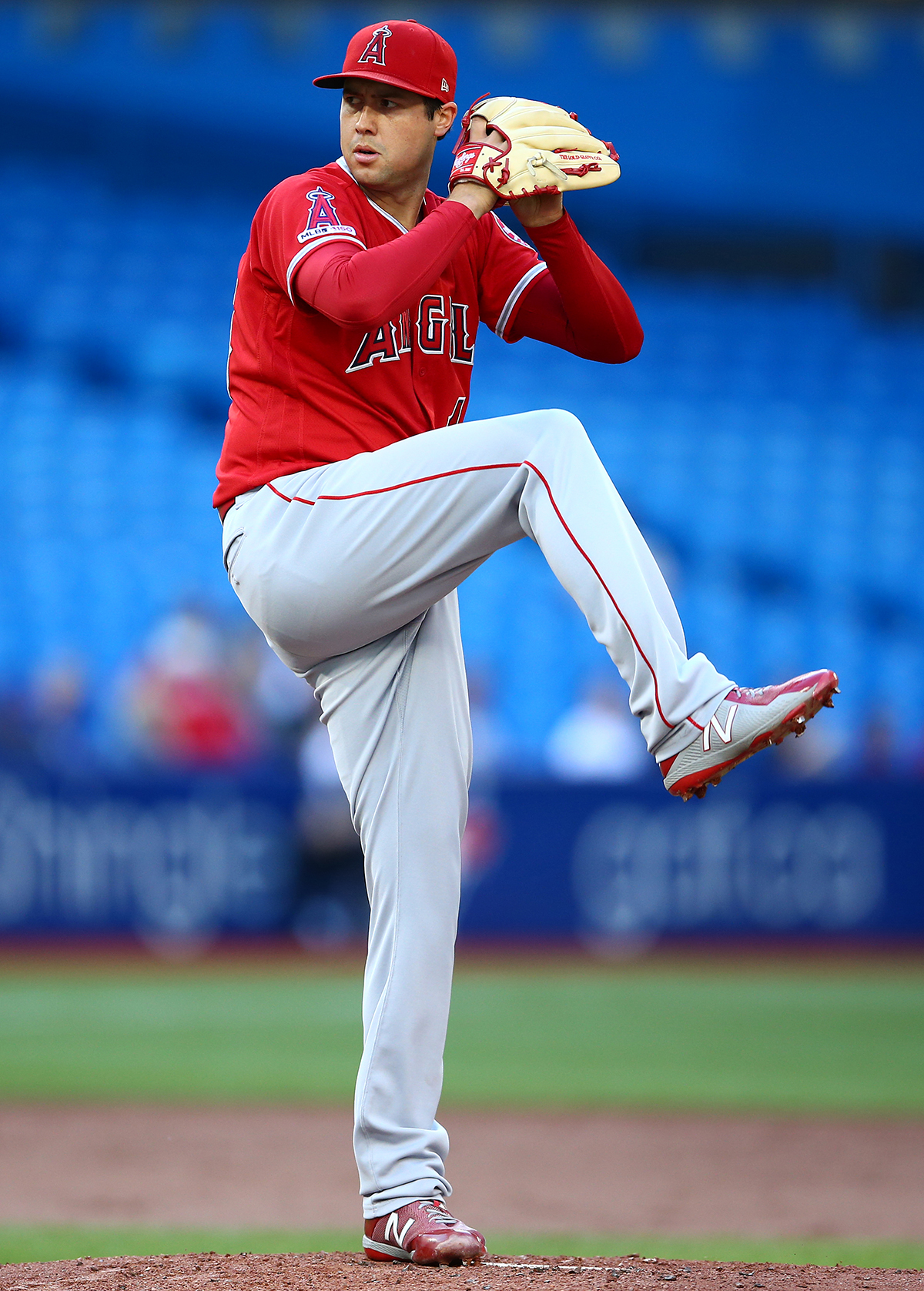 Tyler Skaggs #45 of the Los Angeles Angels of Anaheim delivers a pitch in the first inning during a MLB game against the Toronto Blue Jays at Rogers Centre on June 18, 2019