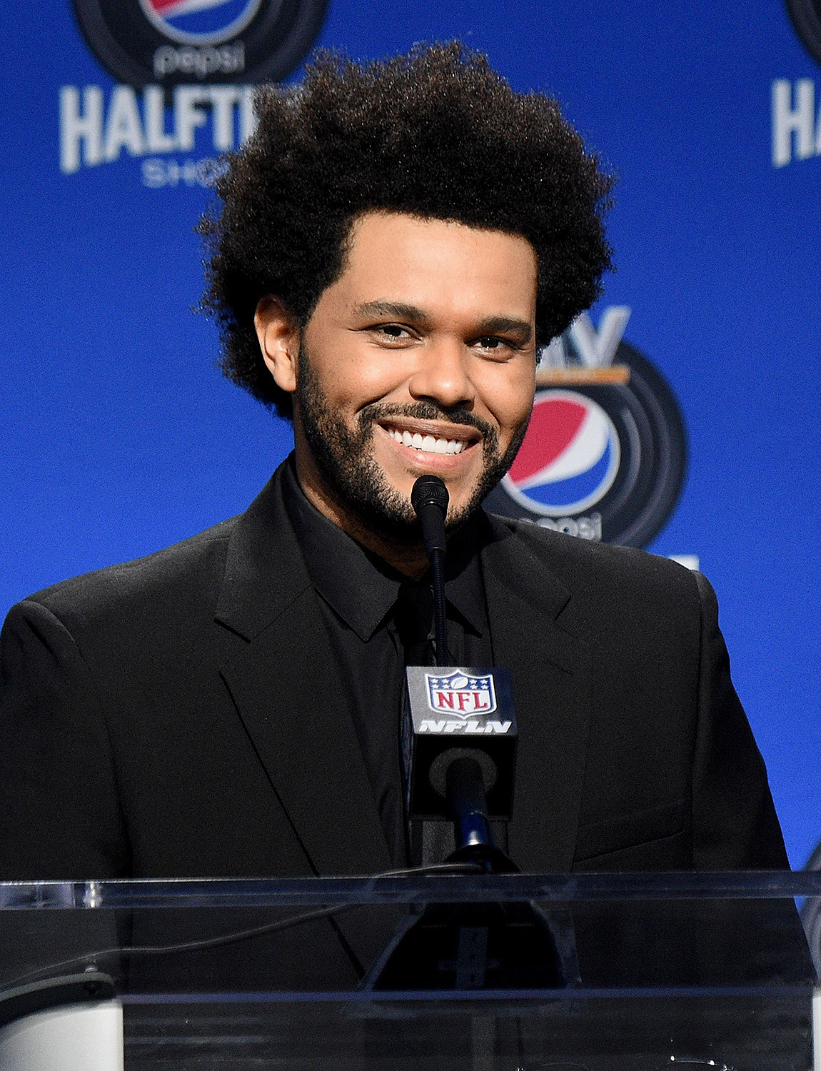 The Weeknd speaks during the Pepsi Super Bowl LV Halftime Show Press Conference at Tampa Convention Center on February 04, 2021