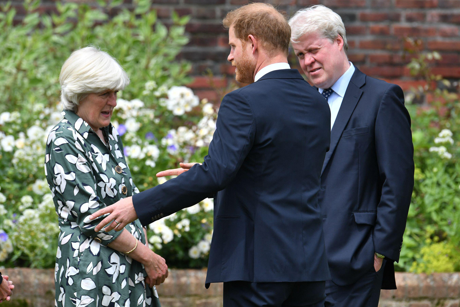 The Duke of Sussex (centre) with his aunt Lady Jane Fellowes and uncle Earl Spencer