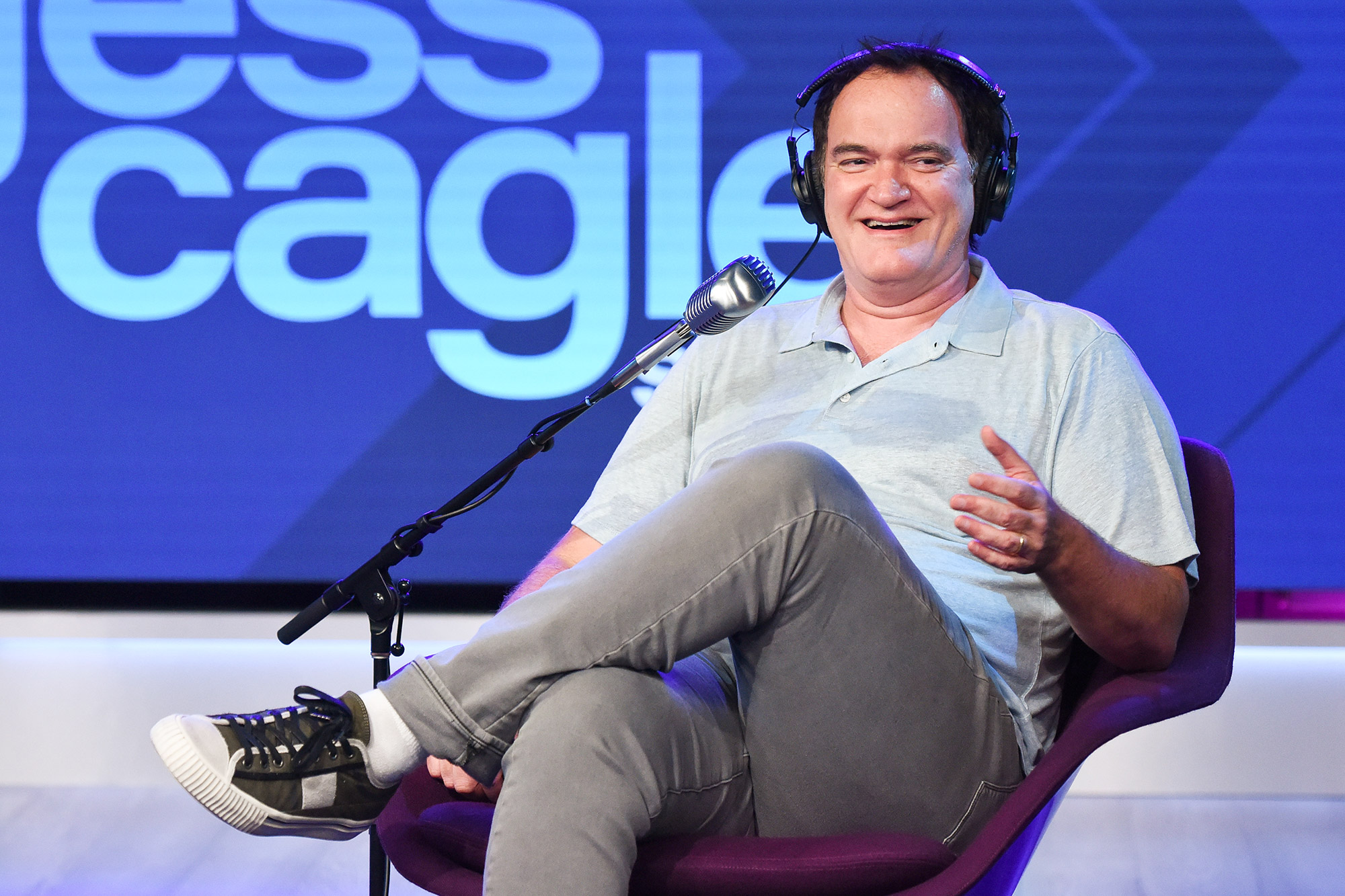 Quentin Tarantino visits The SiriusXM Hollywood Studios in Los Angeles on June 30, 2021 in Los Angeles, California