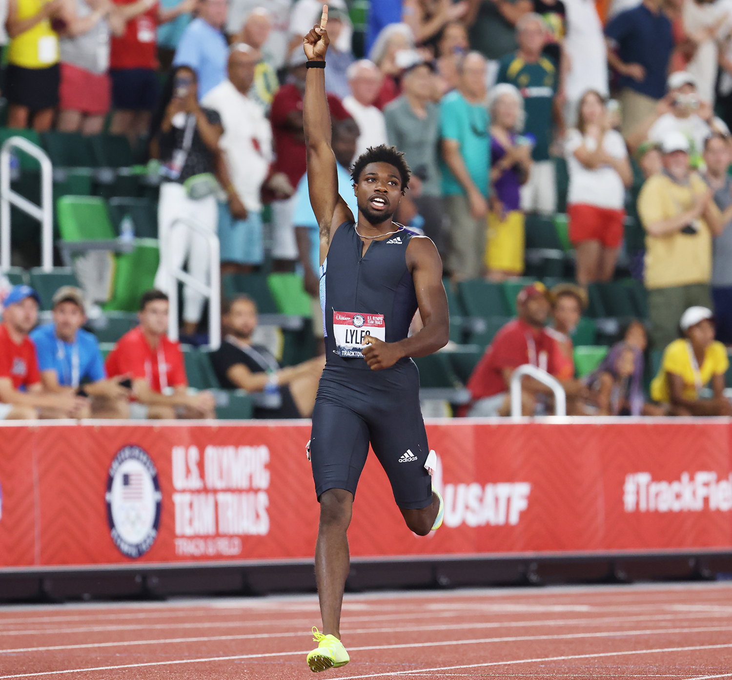 Noah Lyles winning the Men's 200 Meter Final during day ten of the 2020 U.S. Olympic Track & Field Team Trials in Eugene, Oregon.