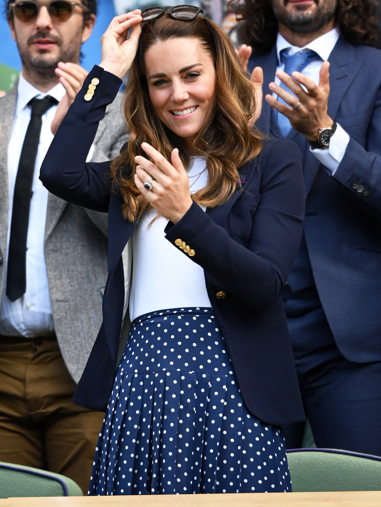 Catherine, Duchess of Cambridge attends the Wimbledon Tennis Championships at the All England Lawn Tennis and Croquet Club on July 02, 2021 in London, England.