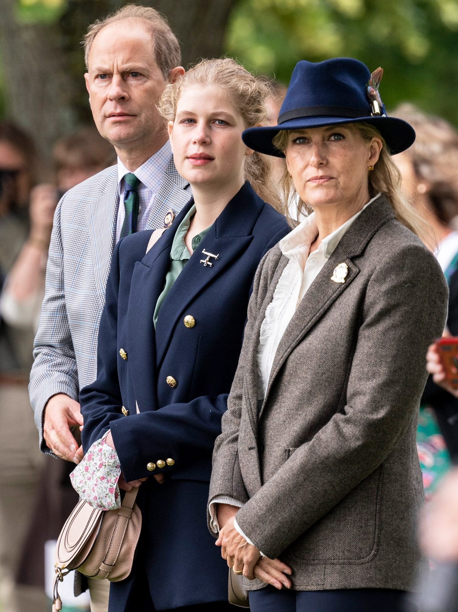 Prince Edward, Earl of Wessex and Sophie, Countess of Wessex with Lady Louise Windsor watch the Carriage Driving during the Royal Windsor Horse Show 2021 at Windsor Castle on July 3, 2021 in Windsor, England.